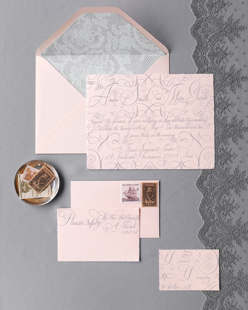 Pink-and-Gray Stationery