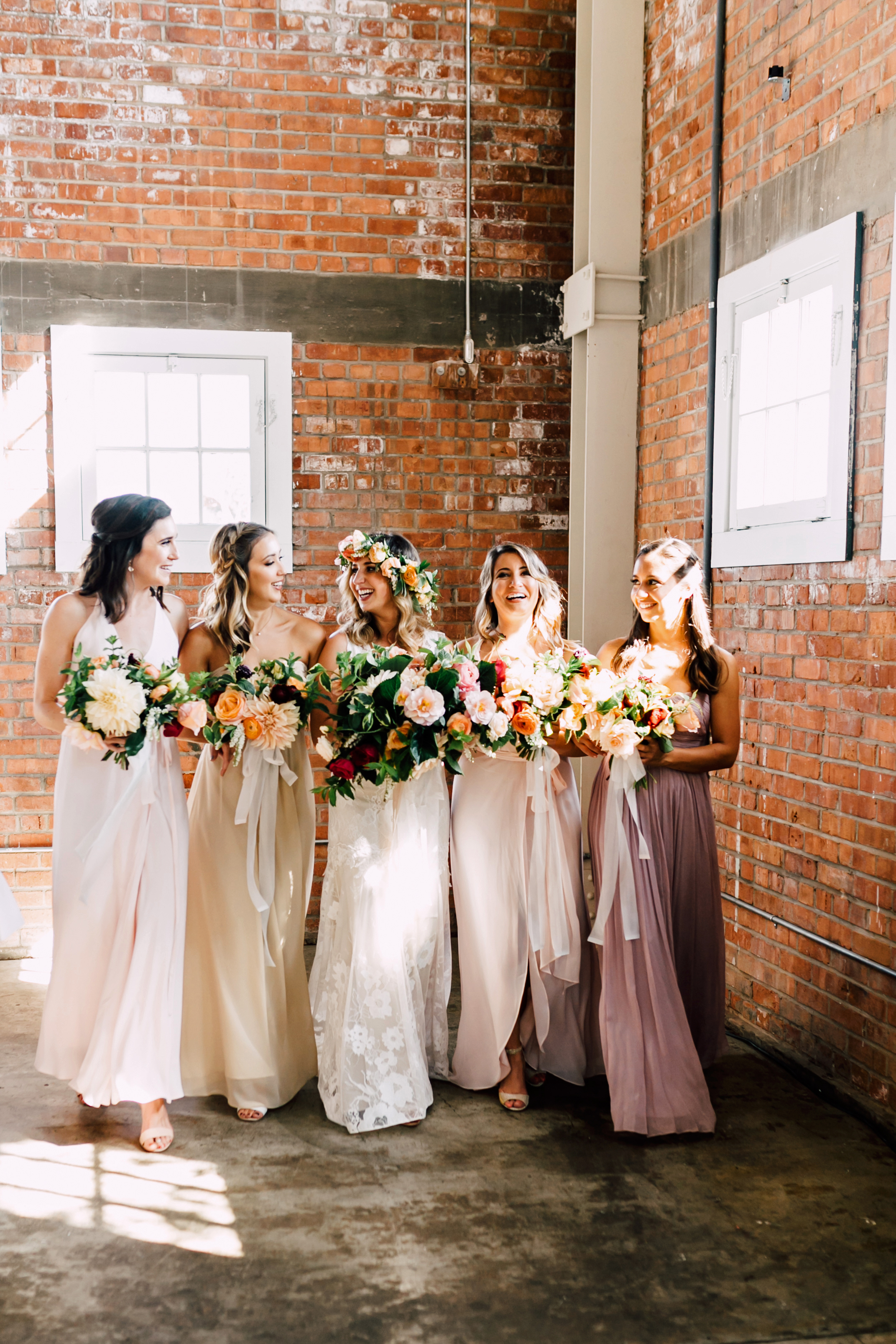 mismatched bridesmaids dresses plum and oak