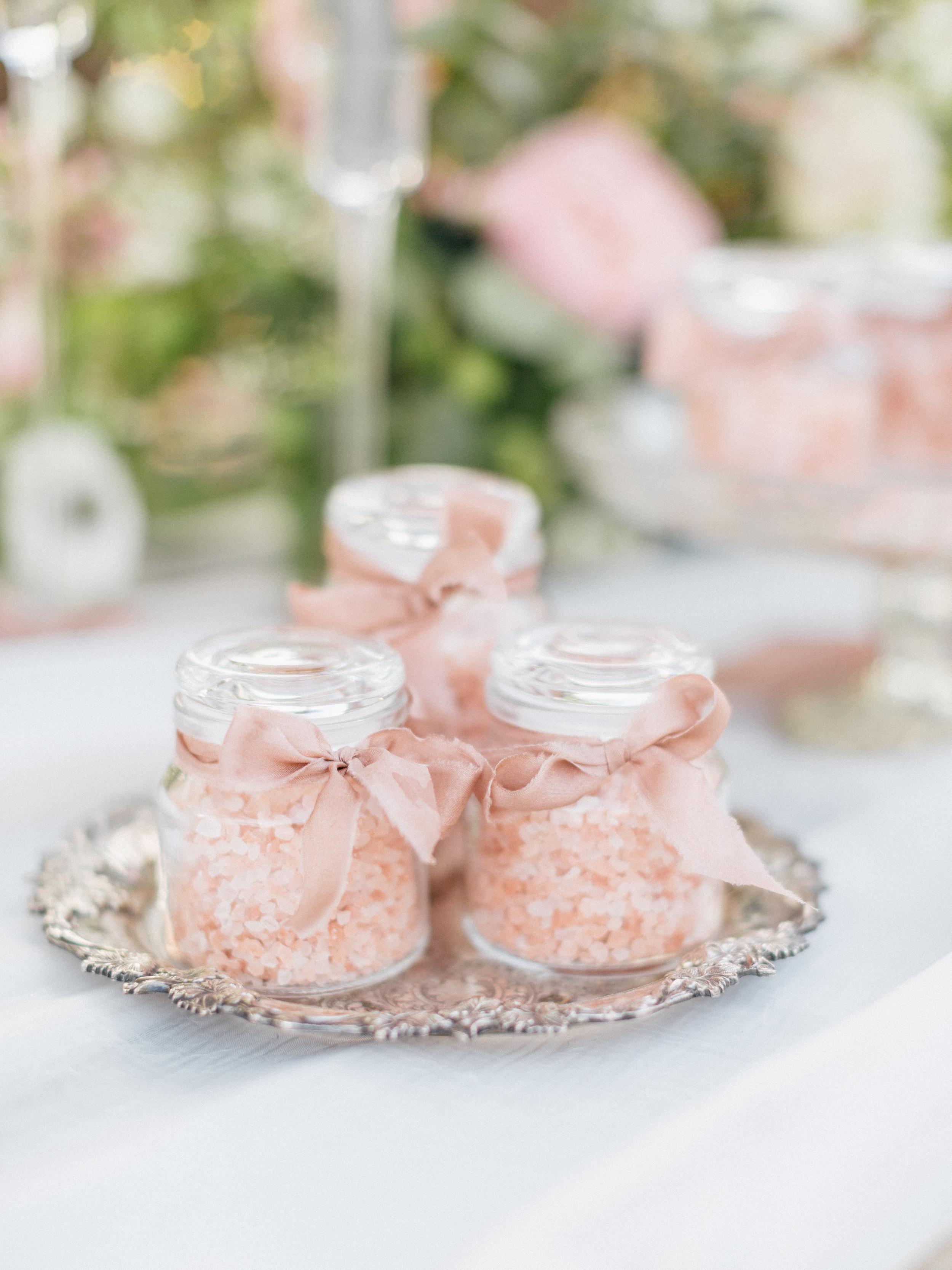 pink himalayan sea salt wedding favors