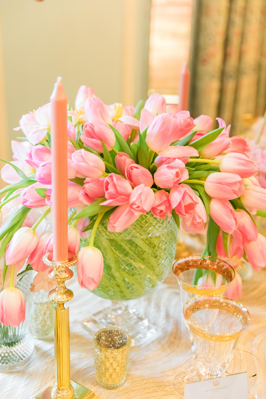 centerpiece full of tulips
