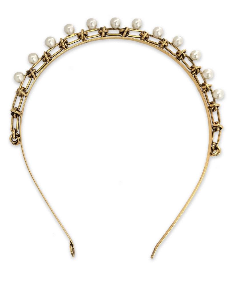 rustic gold Pearl Headband