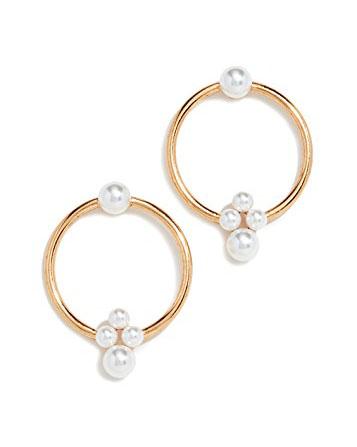 Imitation Pearl Hoop Earrings
