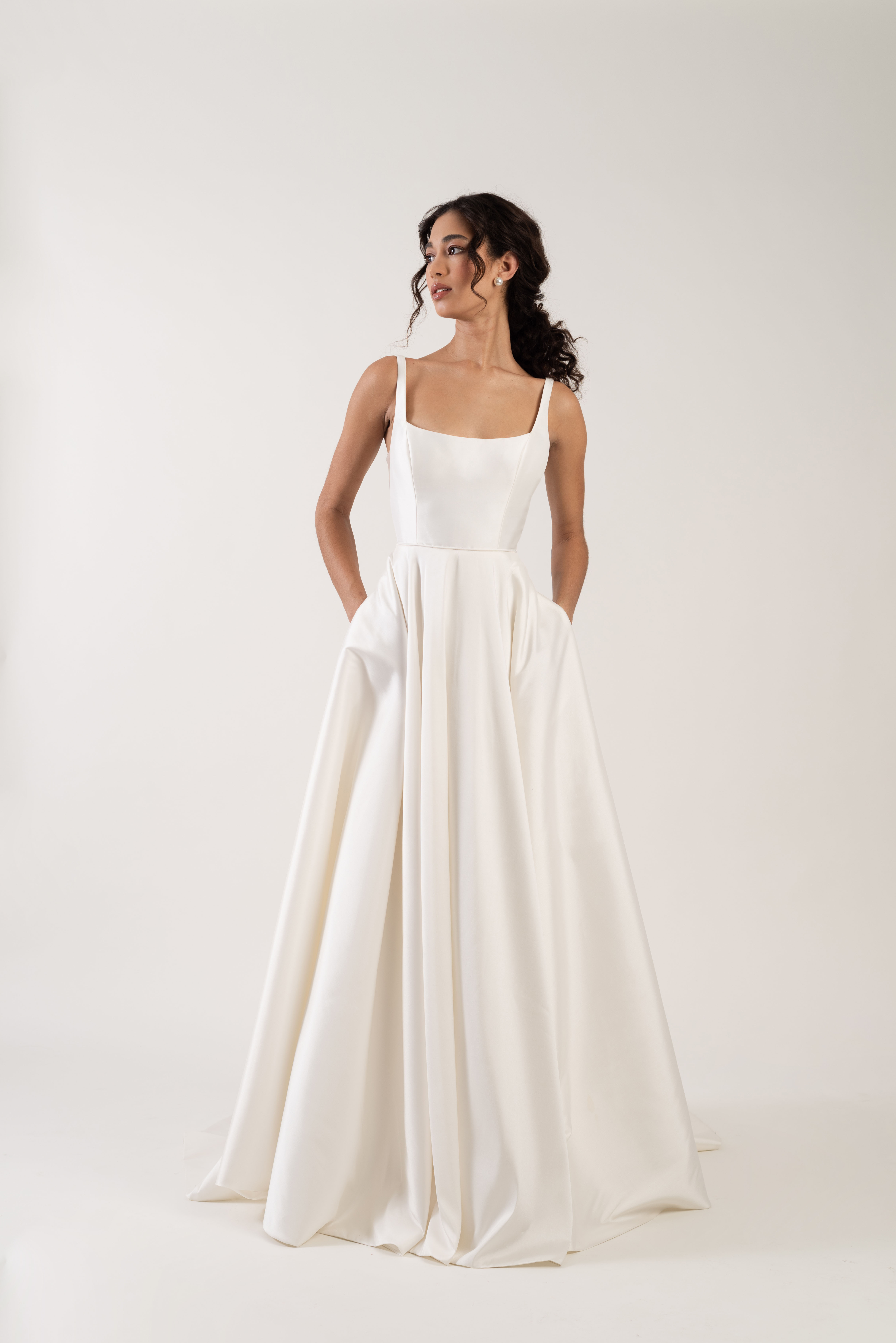 spaghetti strap square neckline pockets a-line wedding dress Jenny by Jenny Yoo Spring 2020