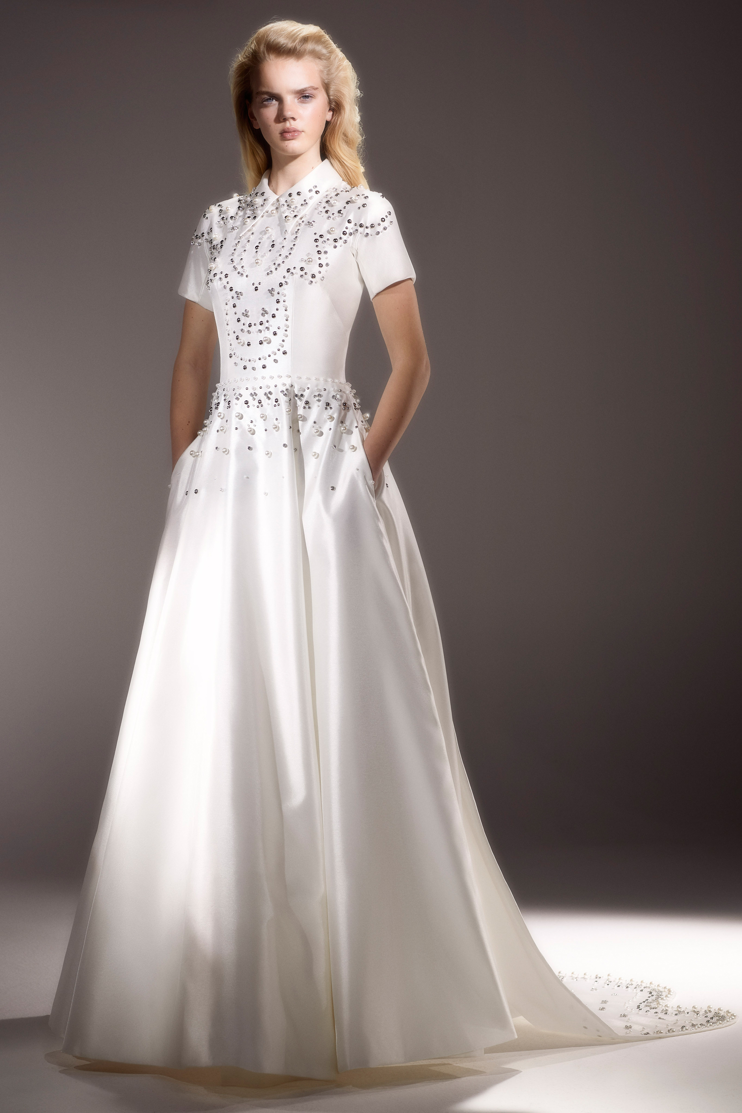 viktor and rolf short sleeve beaded wedding dress with collar spring 2020