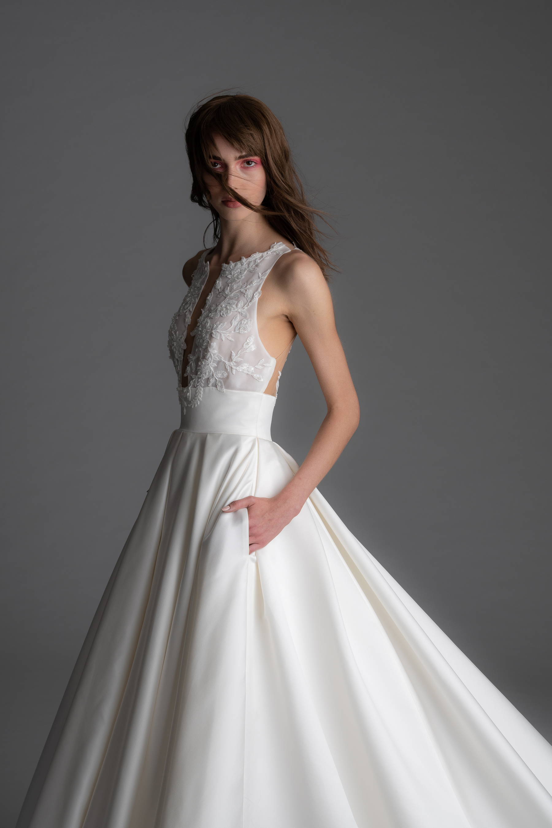 alyne rita vinieris fall 2019 deep v-neck ball gown with pockets