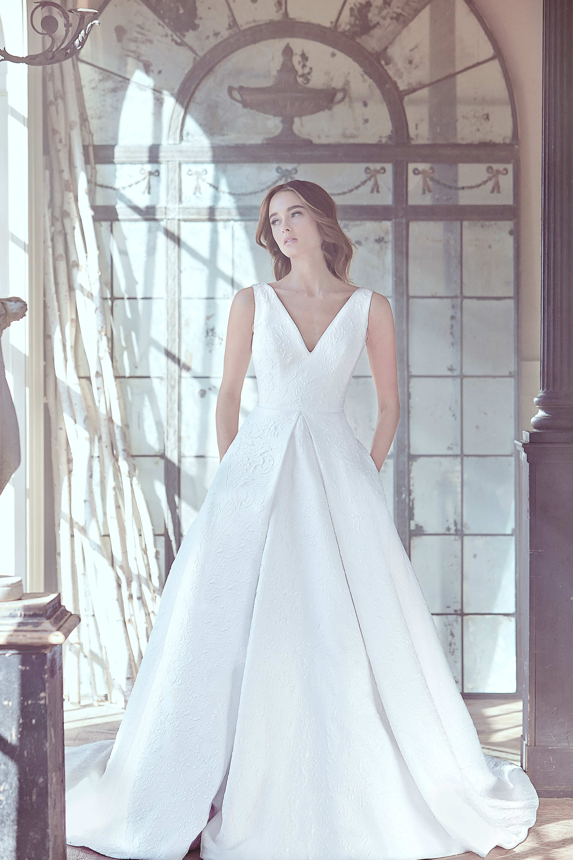 sareh nouri wedding dress spring 2019 v-neck a-line gown