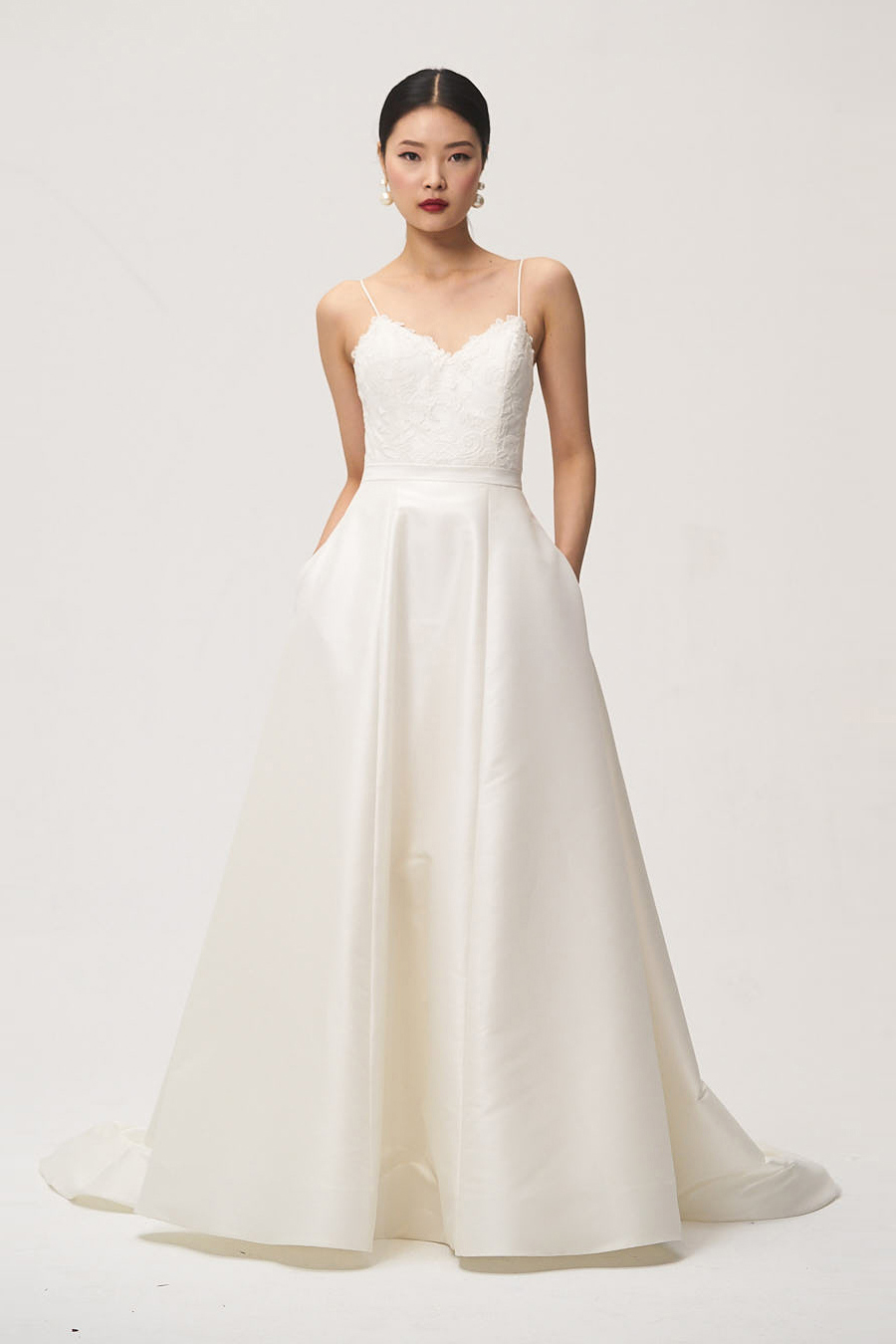 jenny by jenny yoo fall 2018 spaghetti strap lace top wedding dress