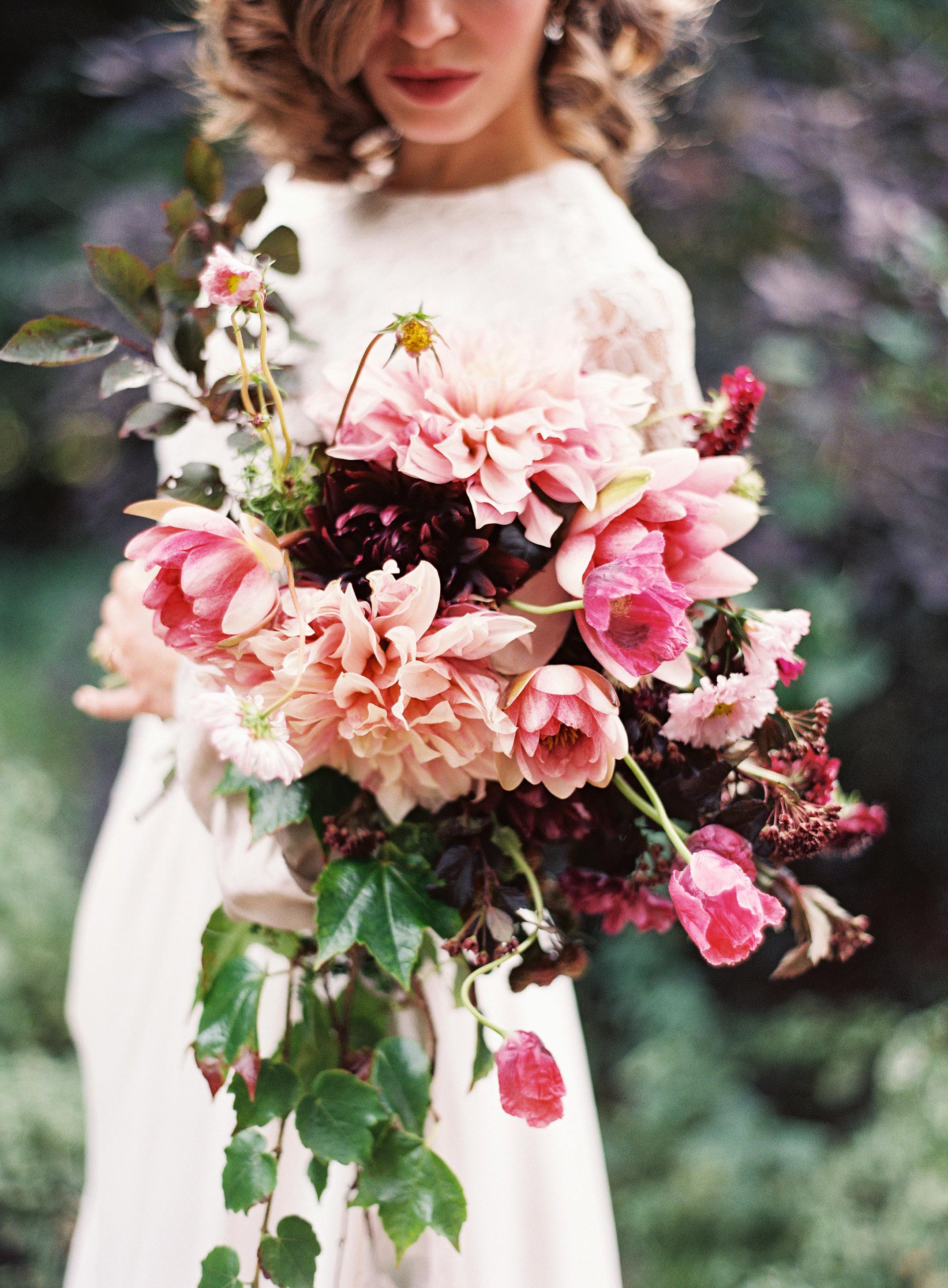 bride dahlia bouquet pink peach flowers
