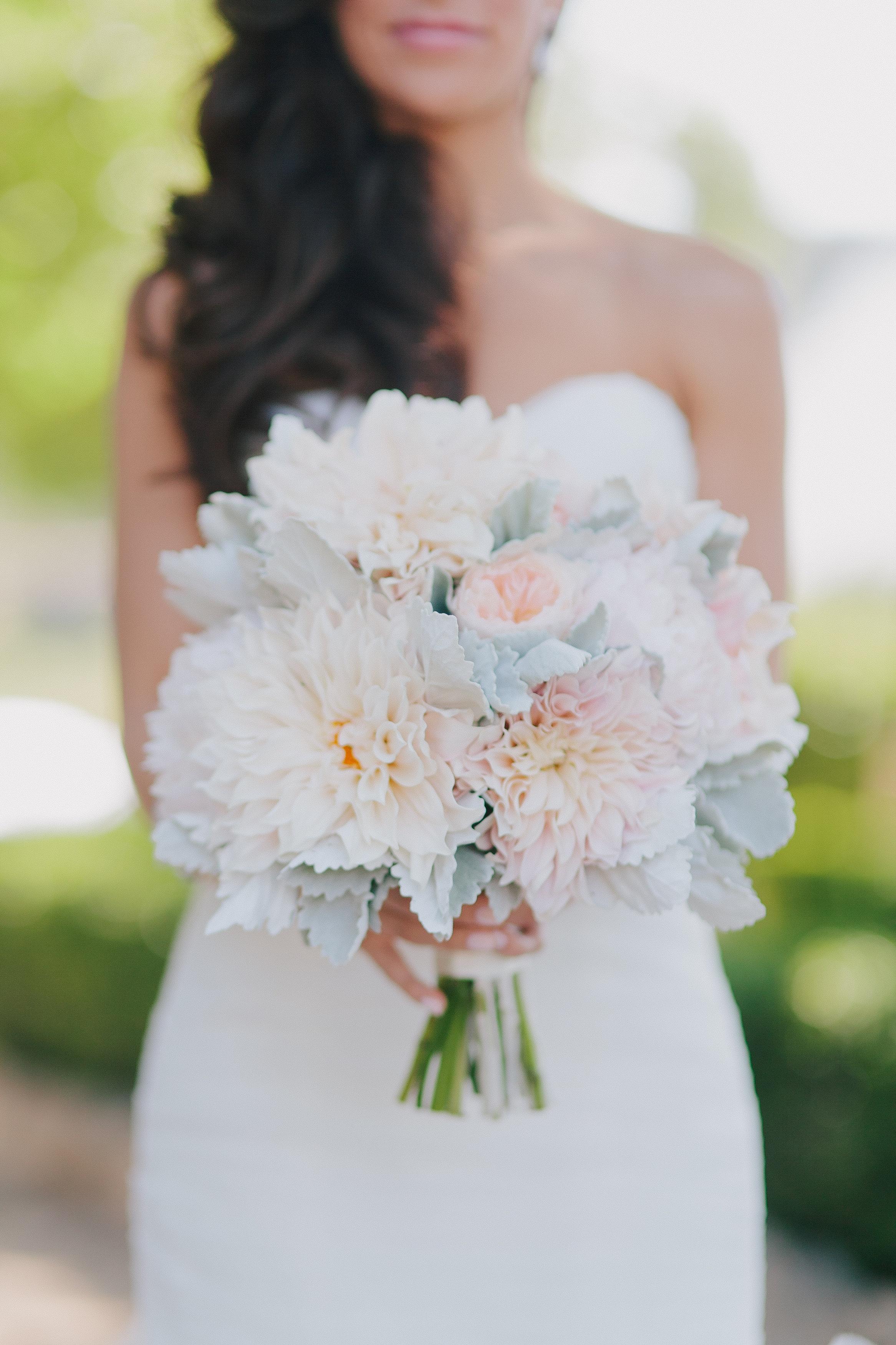 pale dahlia wedding bouquet
