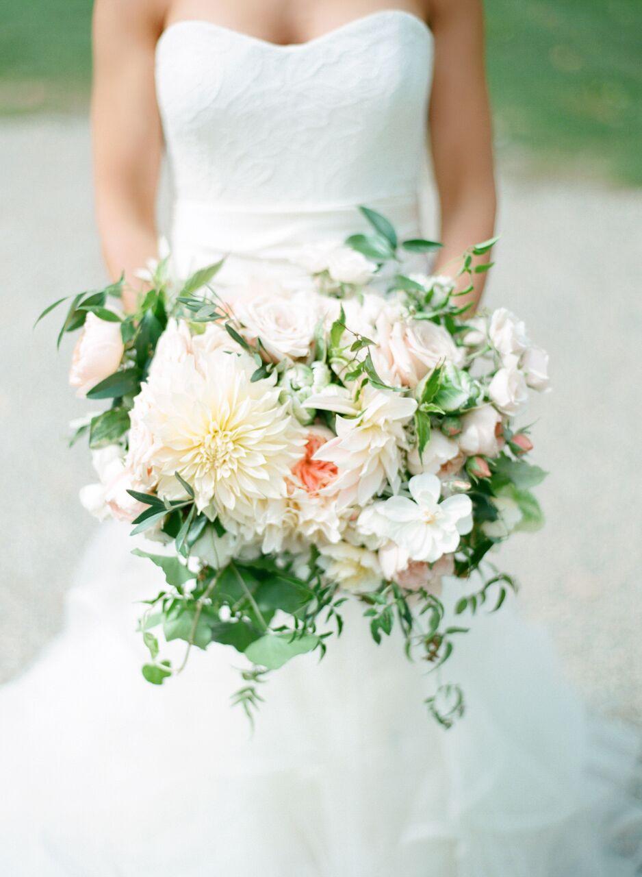 fresh dahlia wedding bouquet