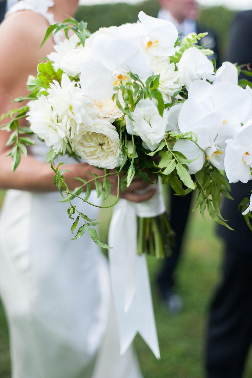 white dahlia wedding bouquet