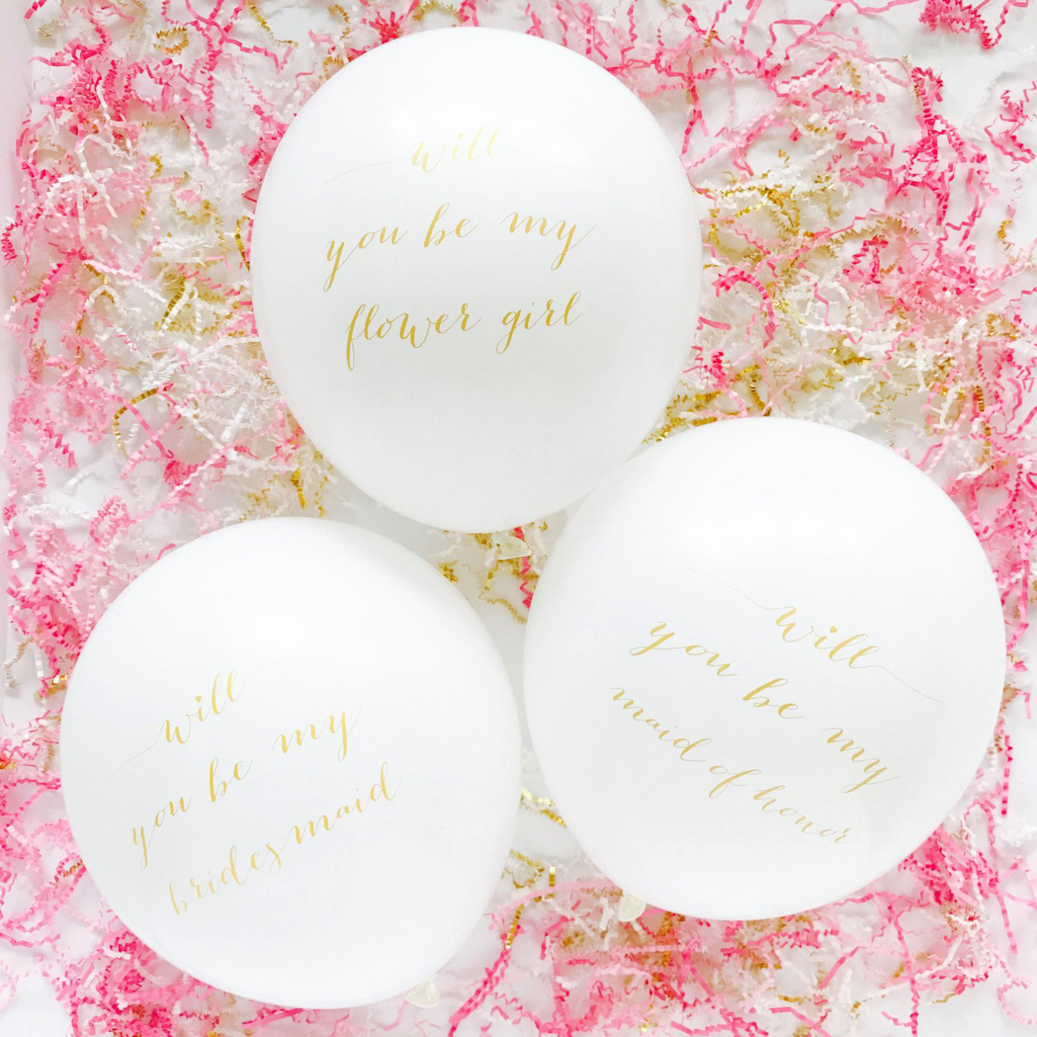 maid of honor proposal balloons with gold calligraphy