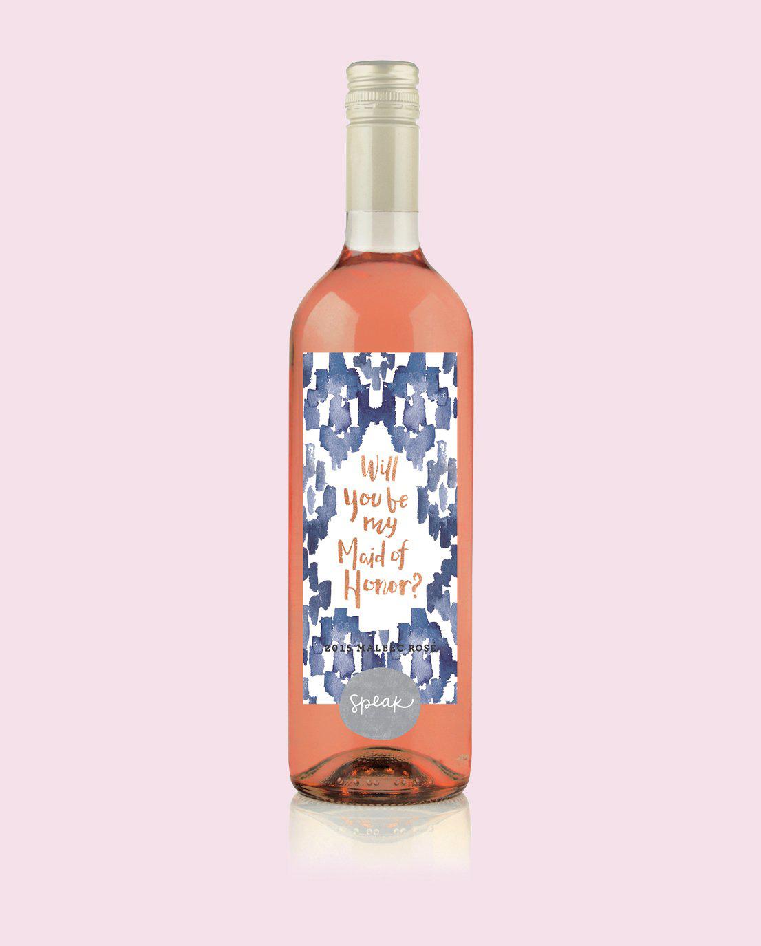 maid of honor proposal speak wine rose