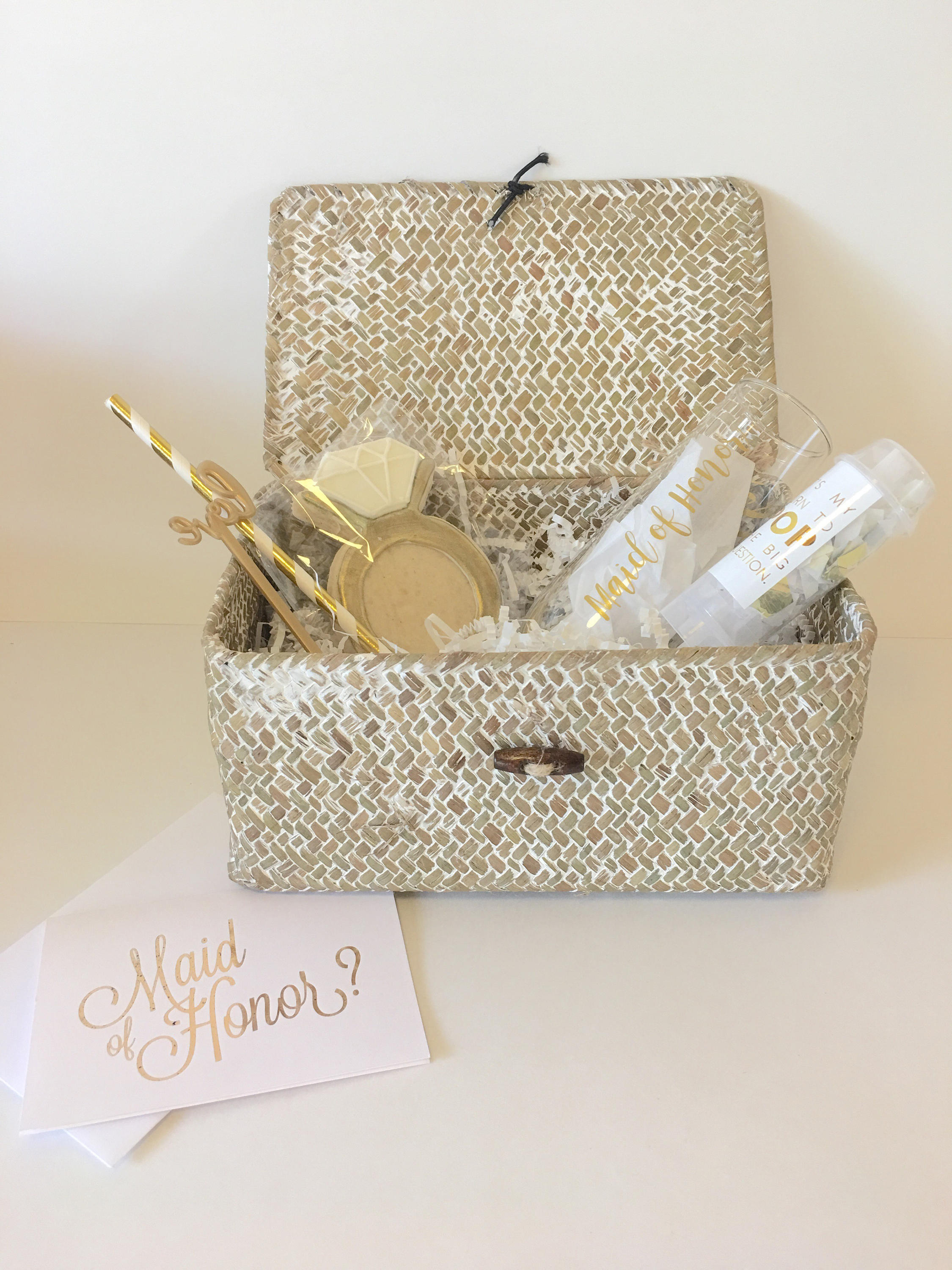 maid of honor proposal gold gift box