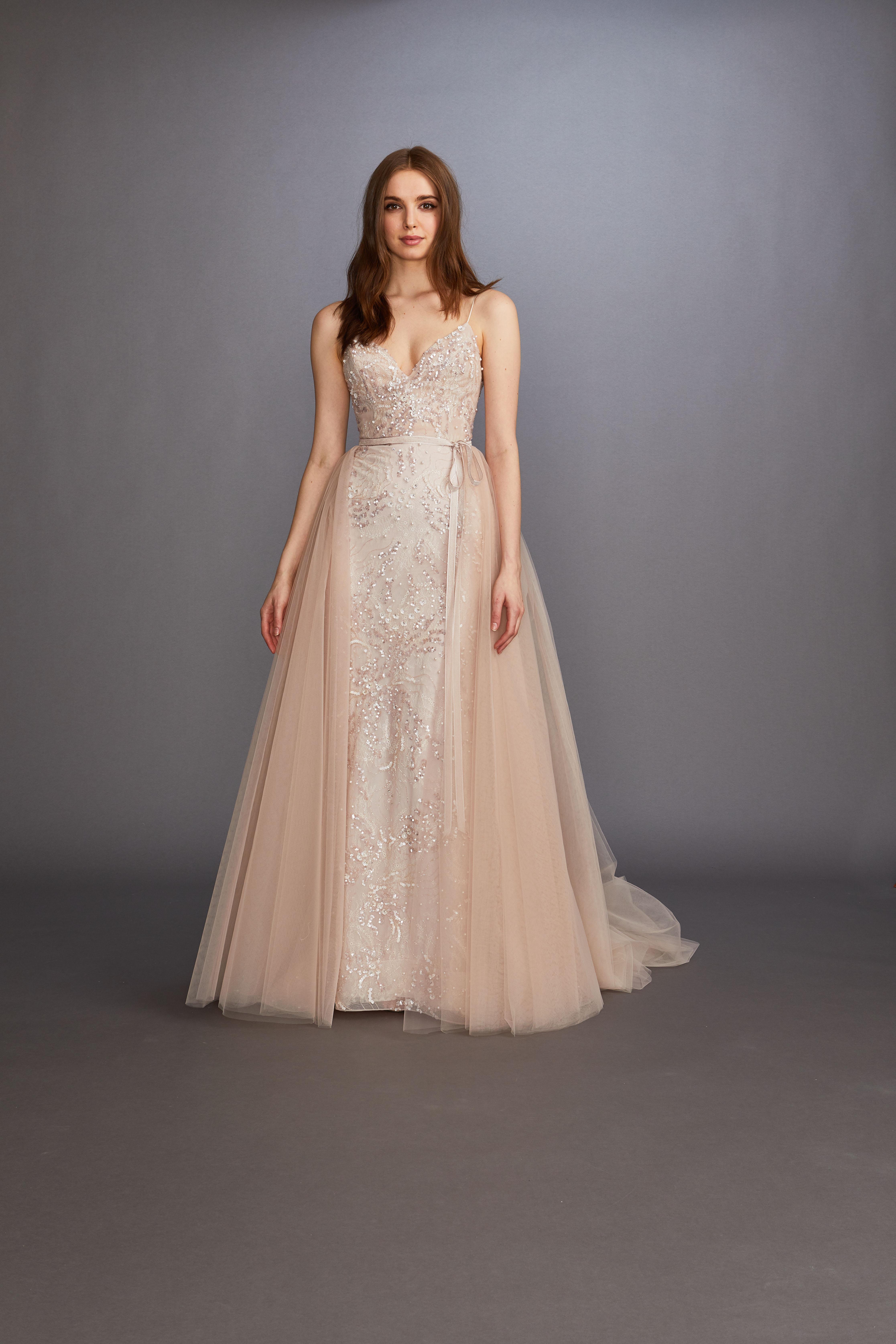 spaghetti strap v-neck glitter beading tulle overskirt a-line wedding dress Lazaro Spring 2020