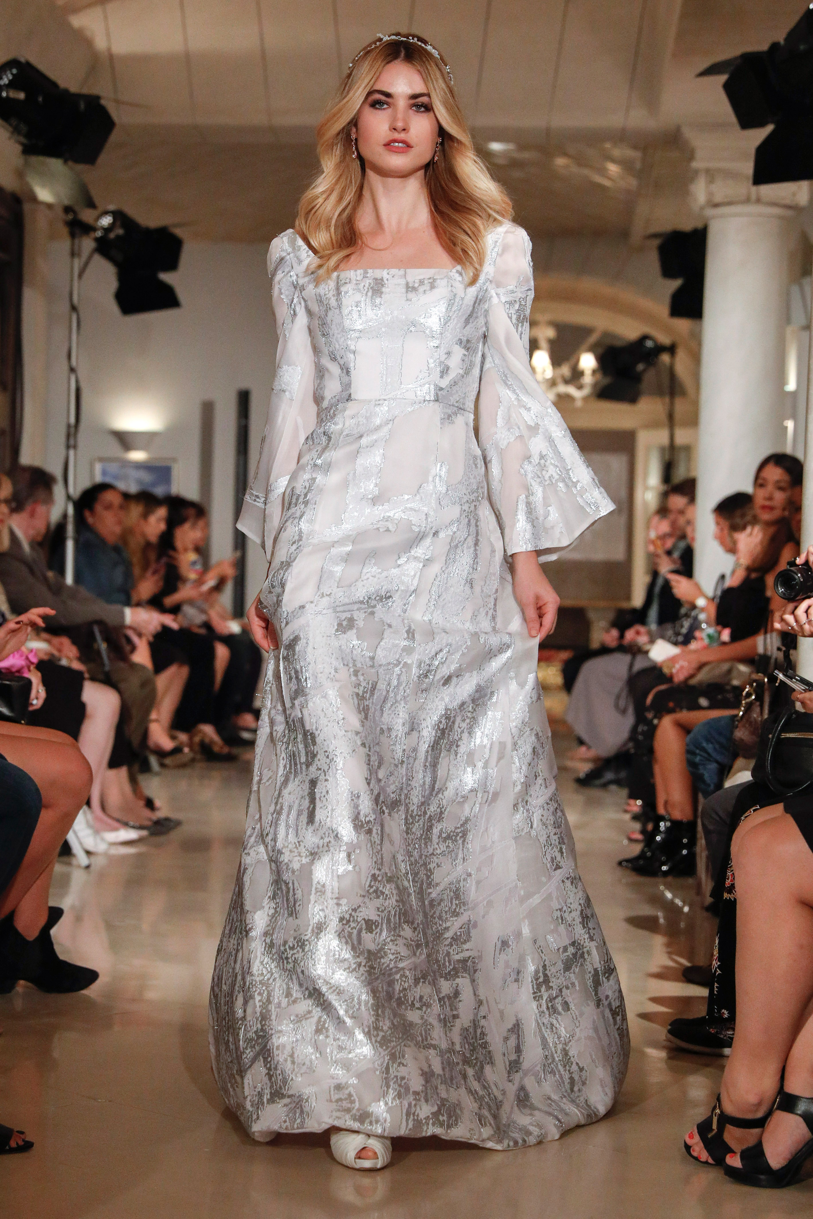 oleg cassini wedding dress fall 2018 long sleeves silver texture