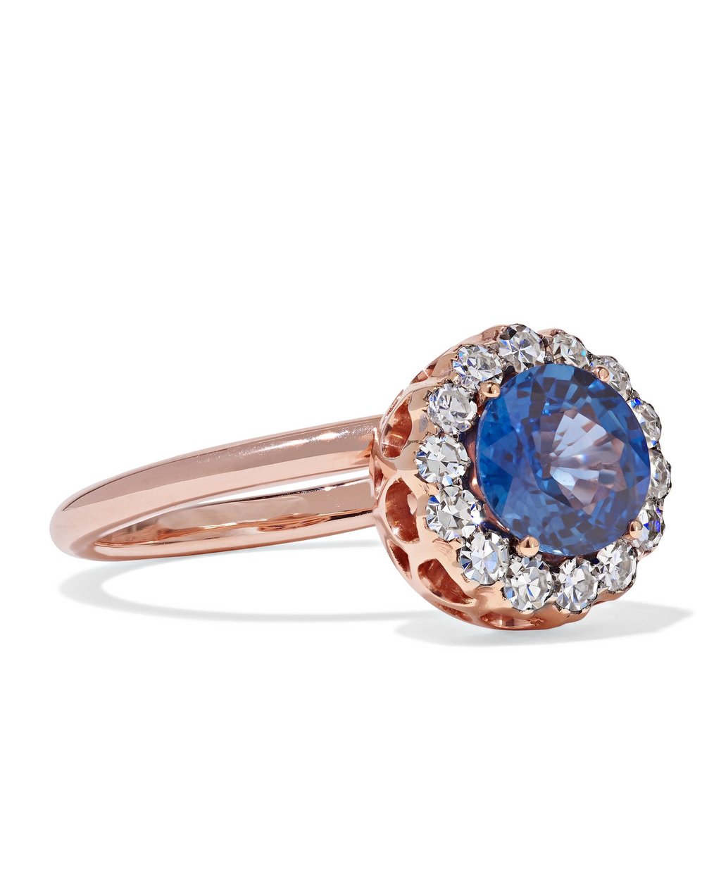 Rose Gold band, Sapphire gem, and Diamond Ring