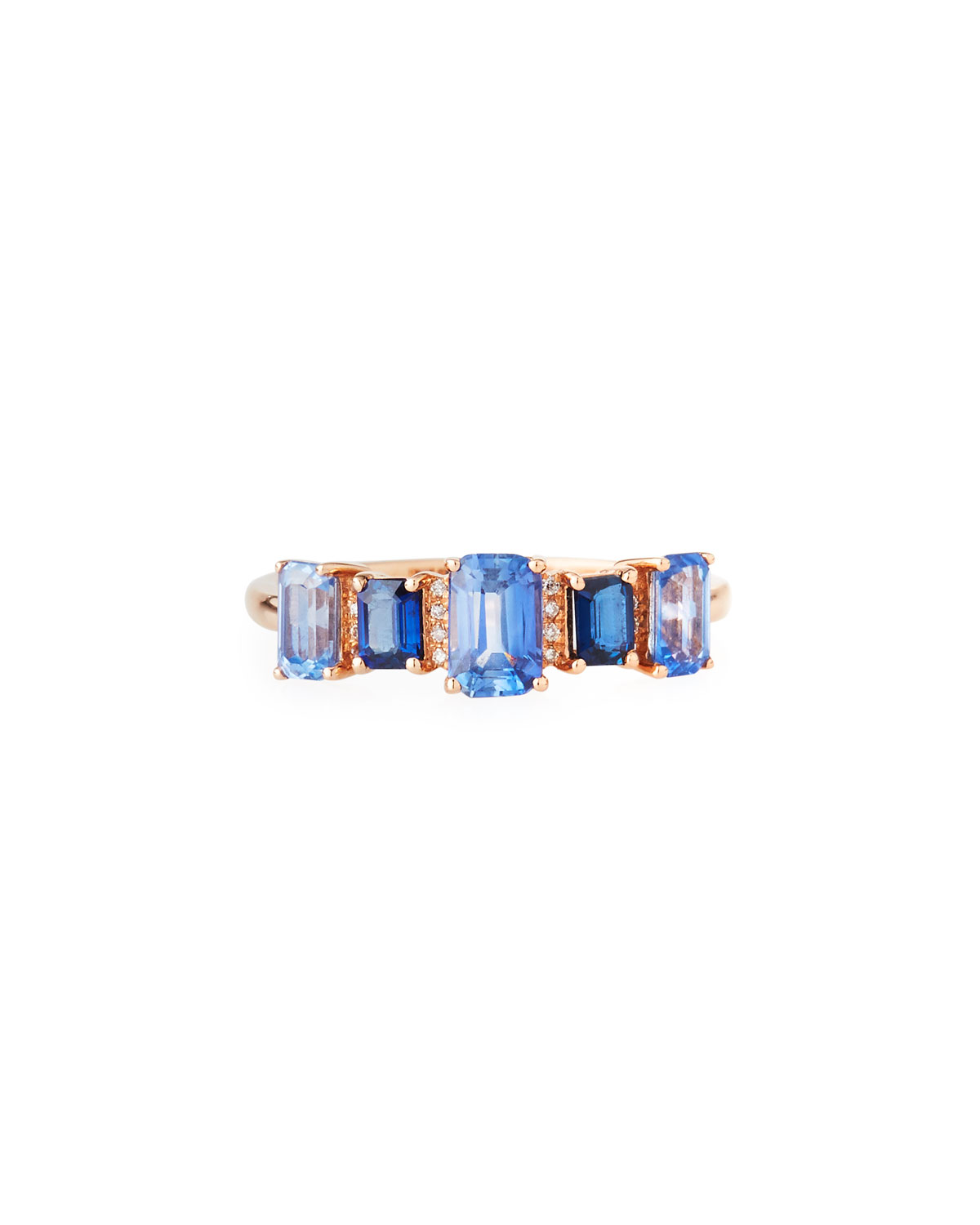 Rose Gold, Blue Sapphire, and Diamond Band