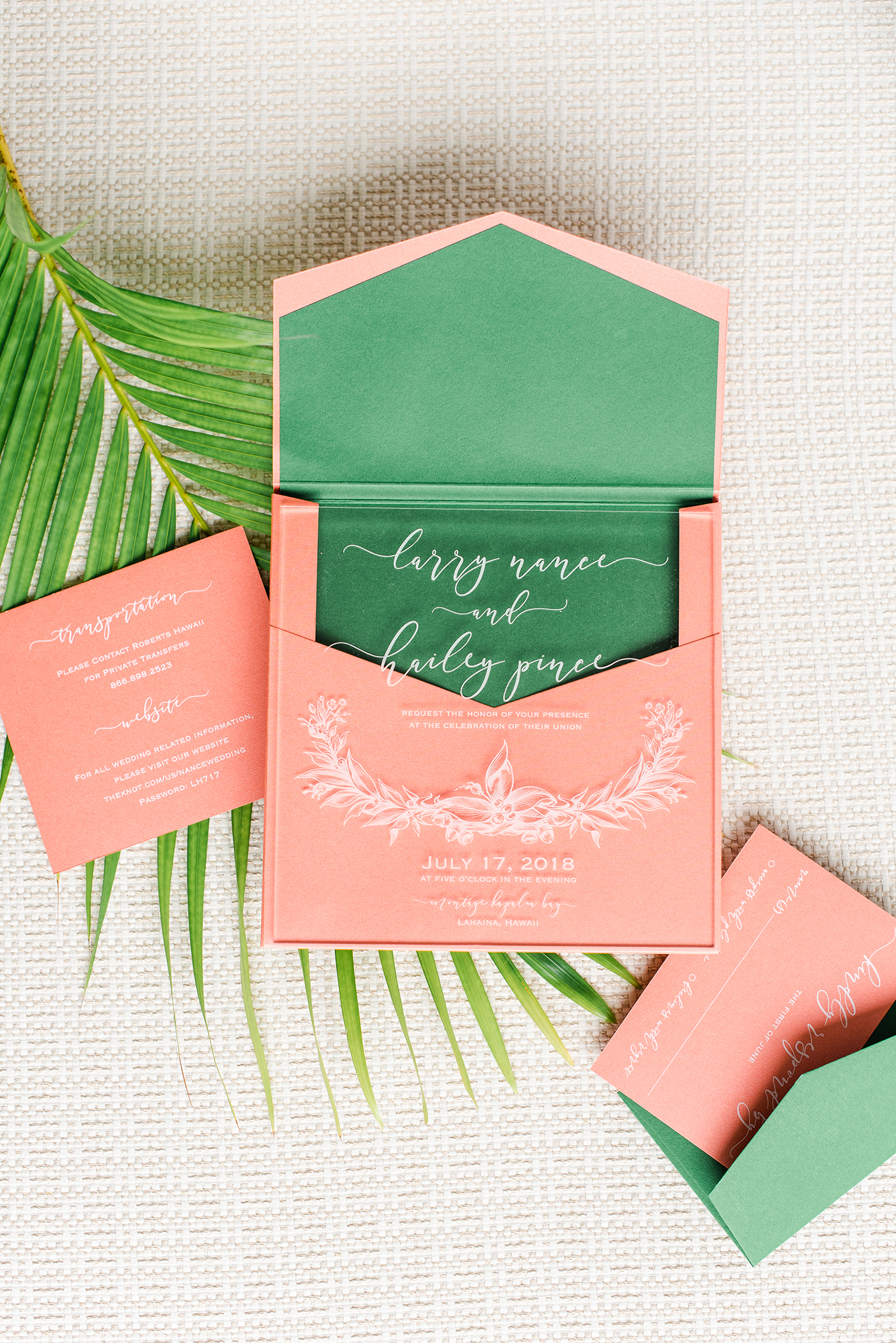 unique wedding color palette green and coral invitations with tropical leaf