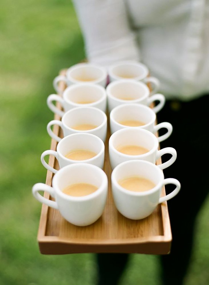 coffee wedding ideas tray of small white coffee mugs