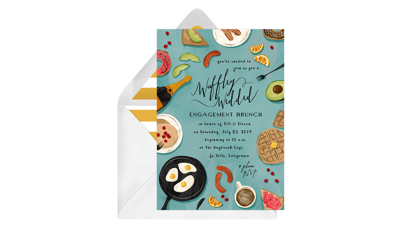 paperless engagement party invite waffles