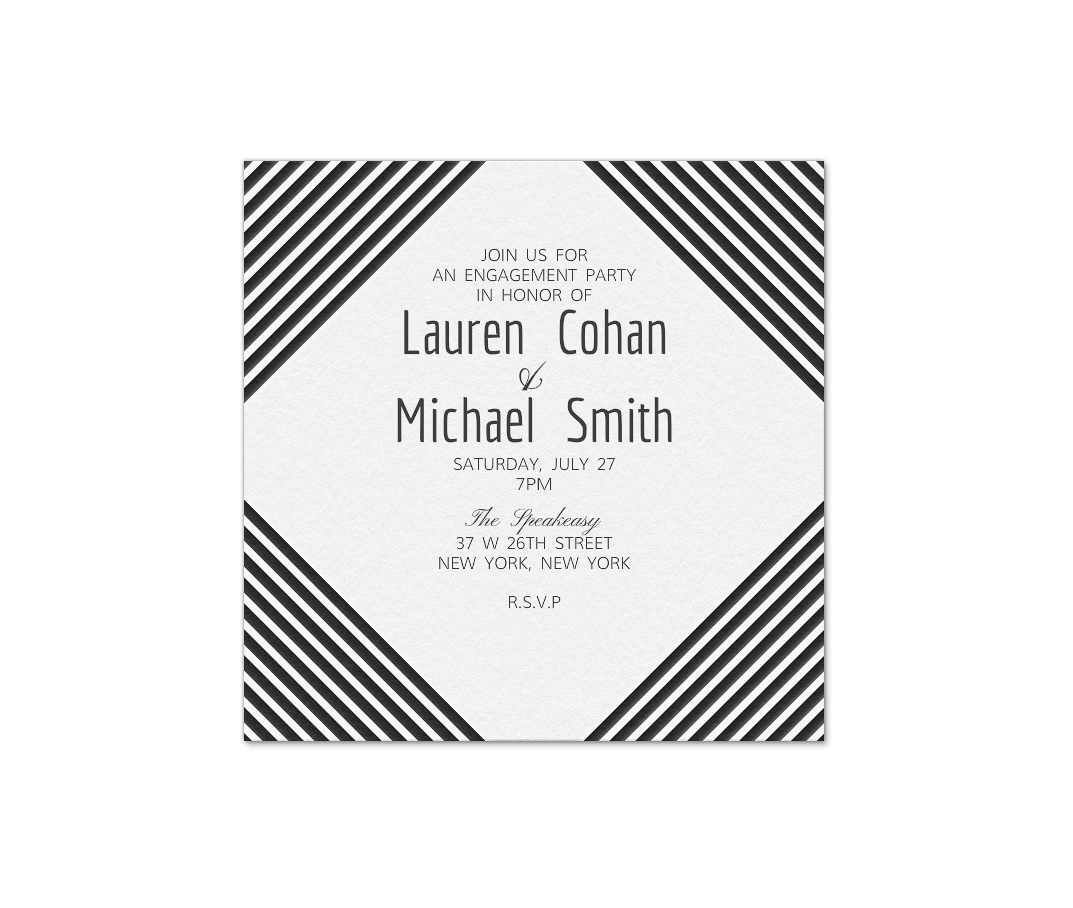 paperless engagement party invite black white stripes