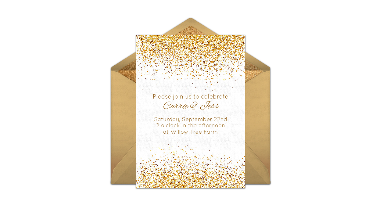 paperless engagement party invite gold confetti