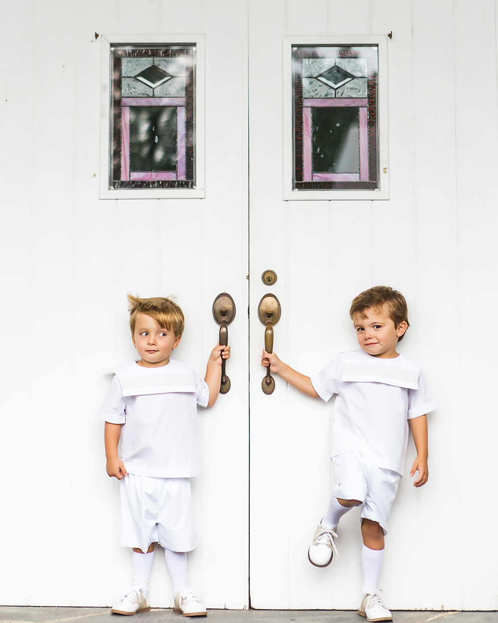 ring bearers white summer wedding