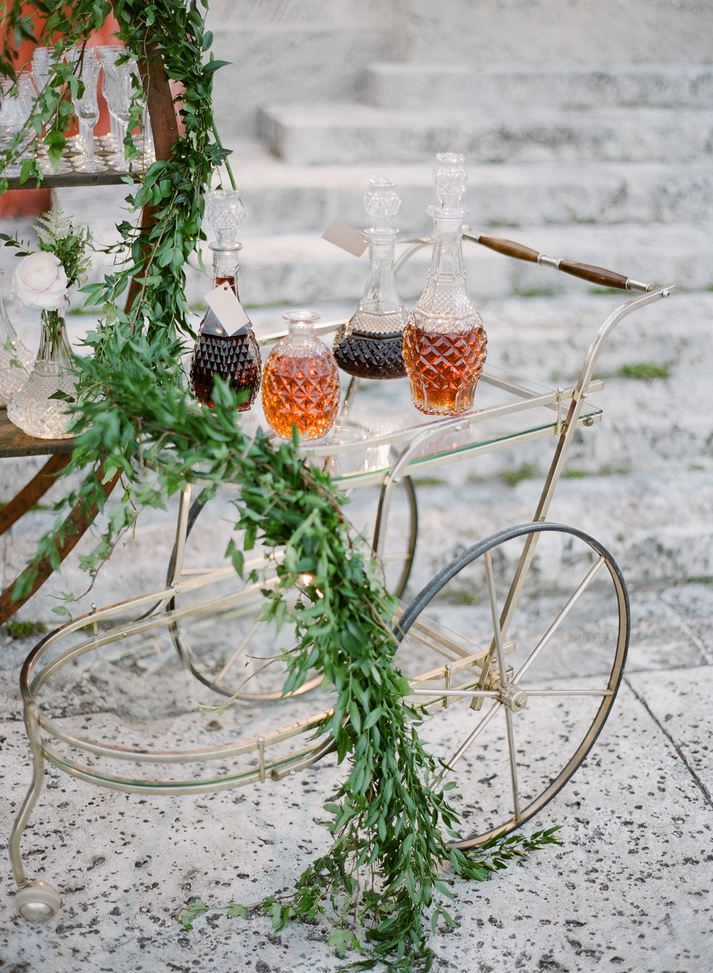 bar cart with leaves