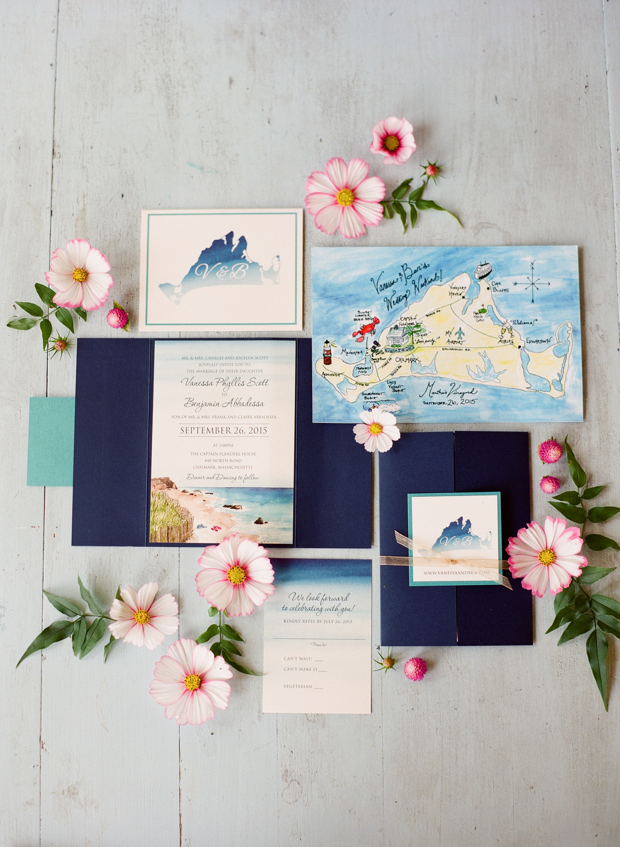 nautical invitation set beach island design with colored map