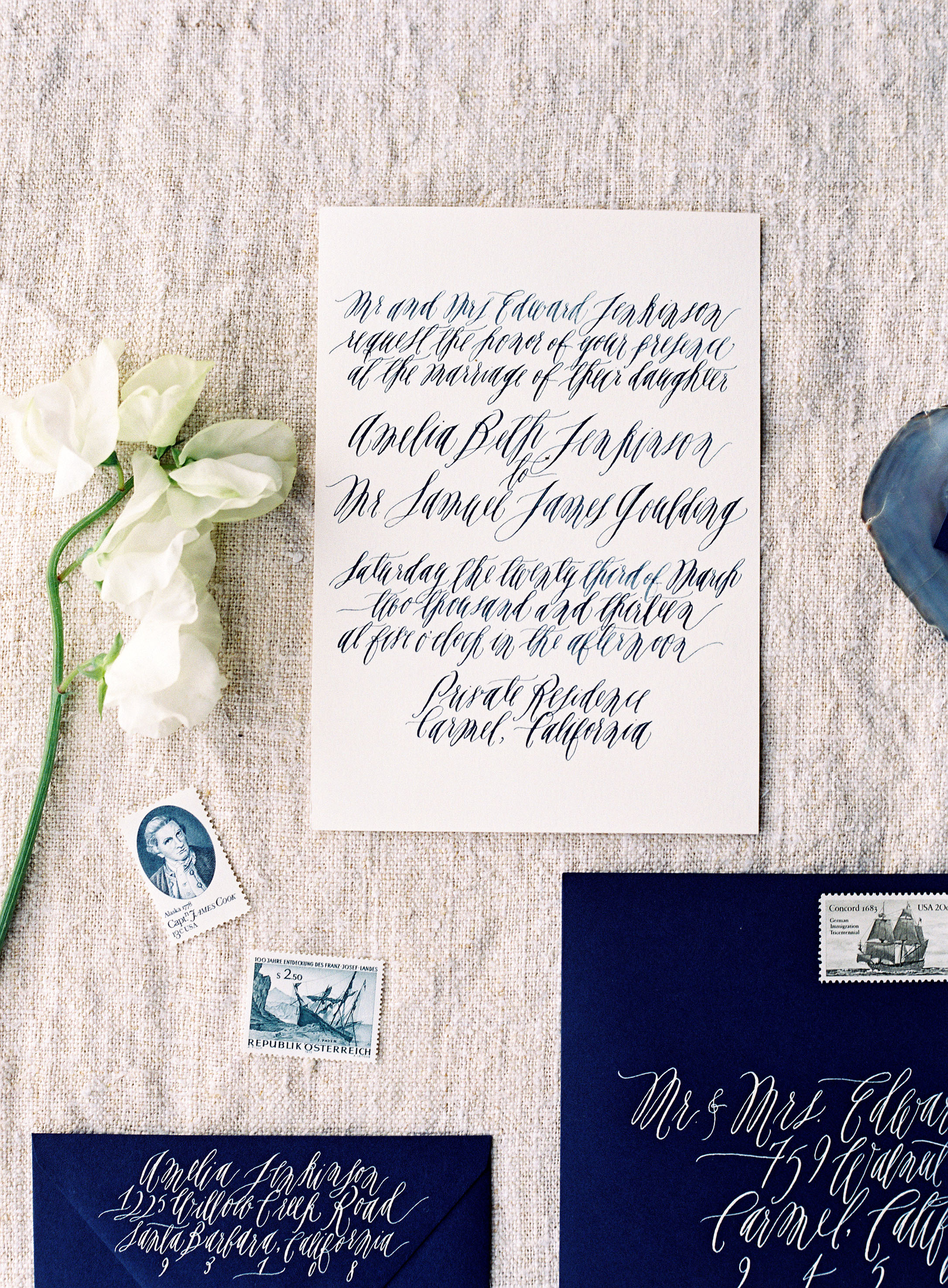 nautical invitation set blue and white calligraphy