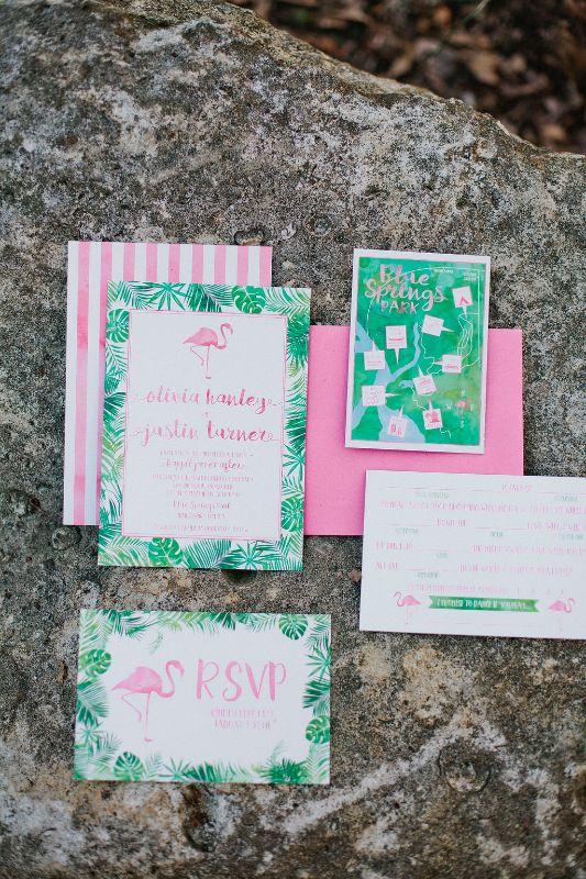 Bright pink and green flamingo wedding invitations