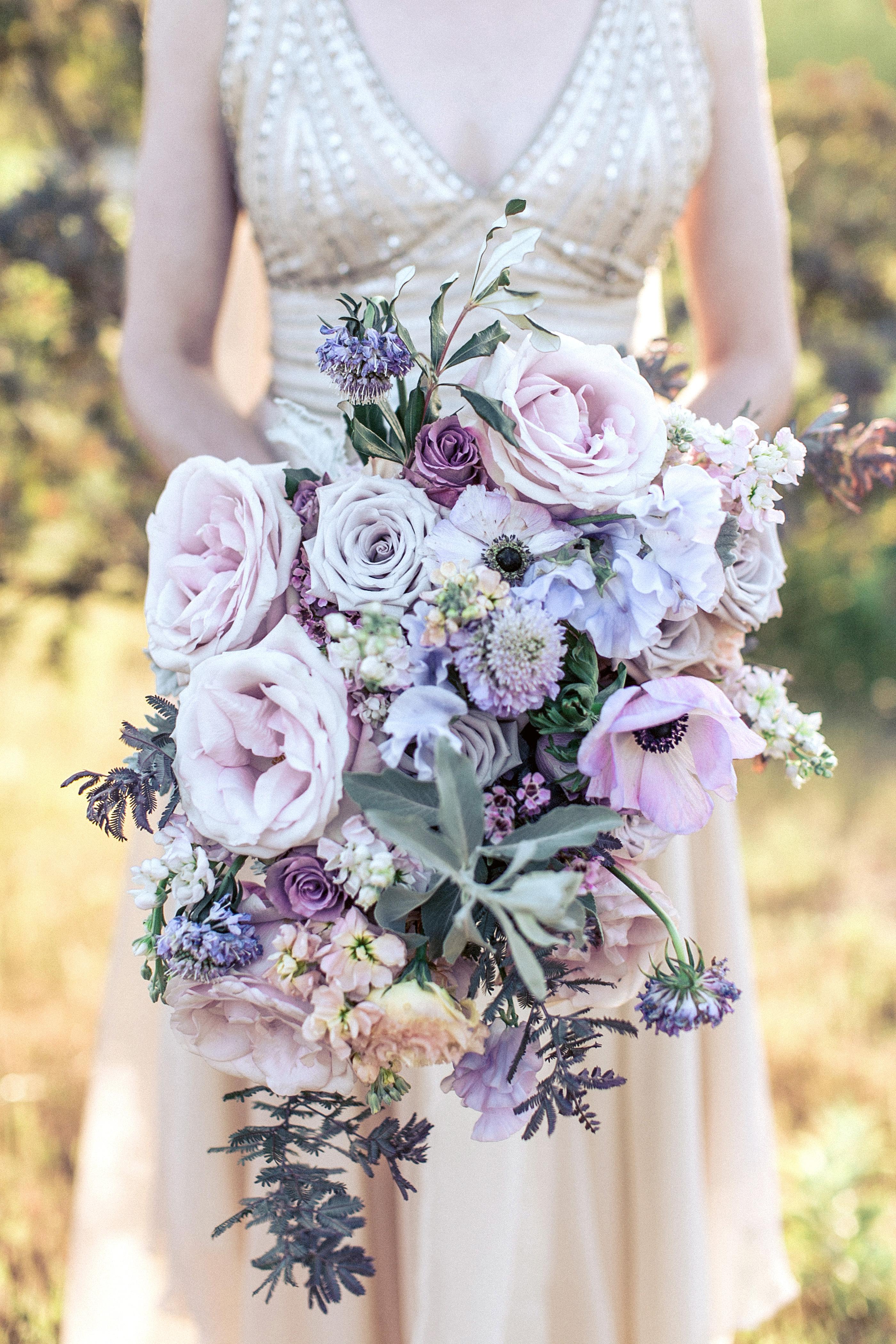 purple pink cascading bouquet