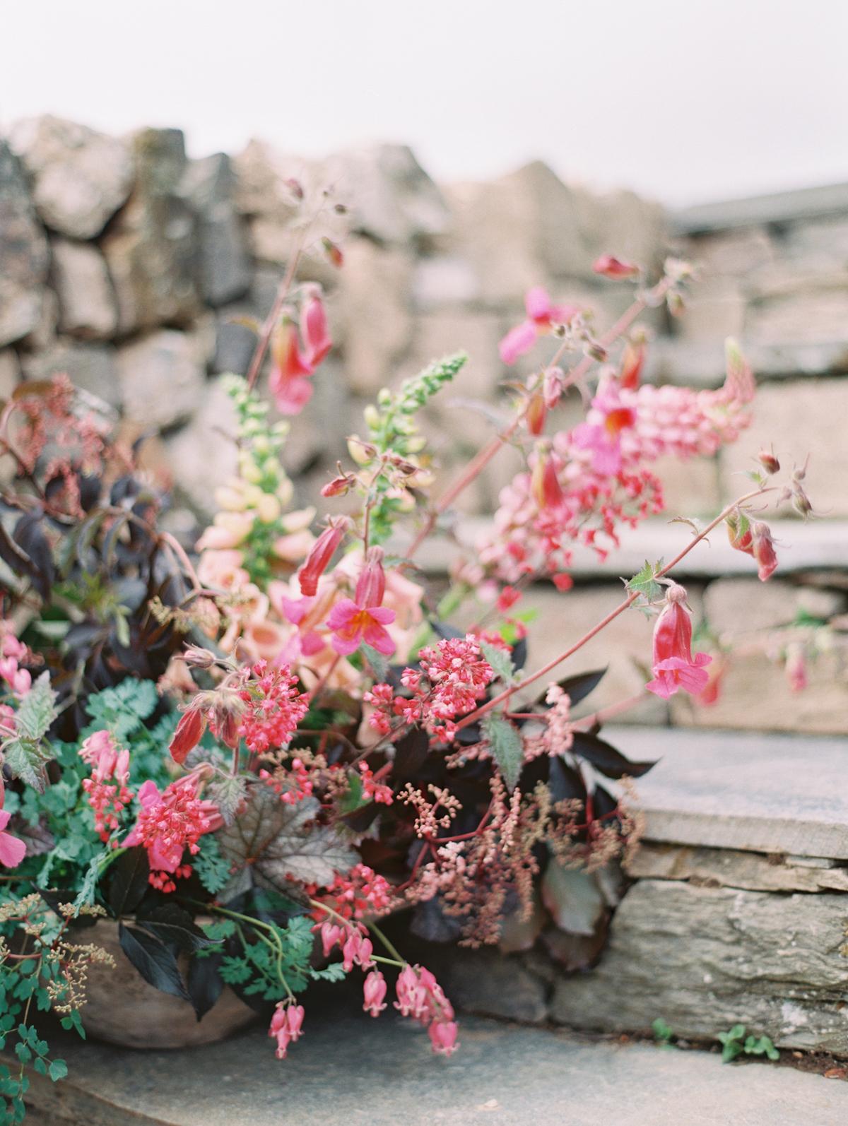 Magenta and Jade floral arrangements wedding decor