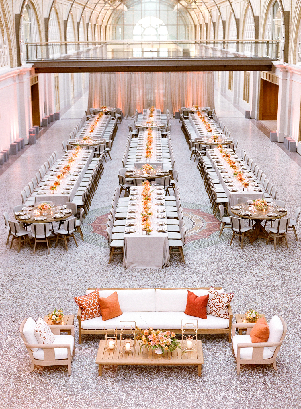 Gray and Orange reception decor