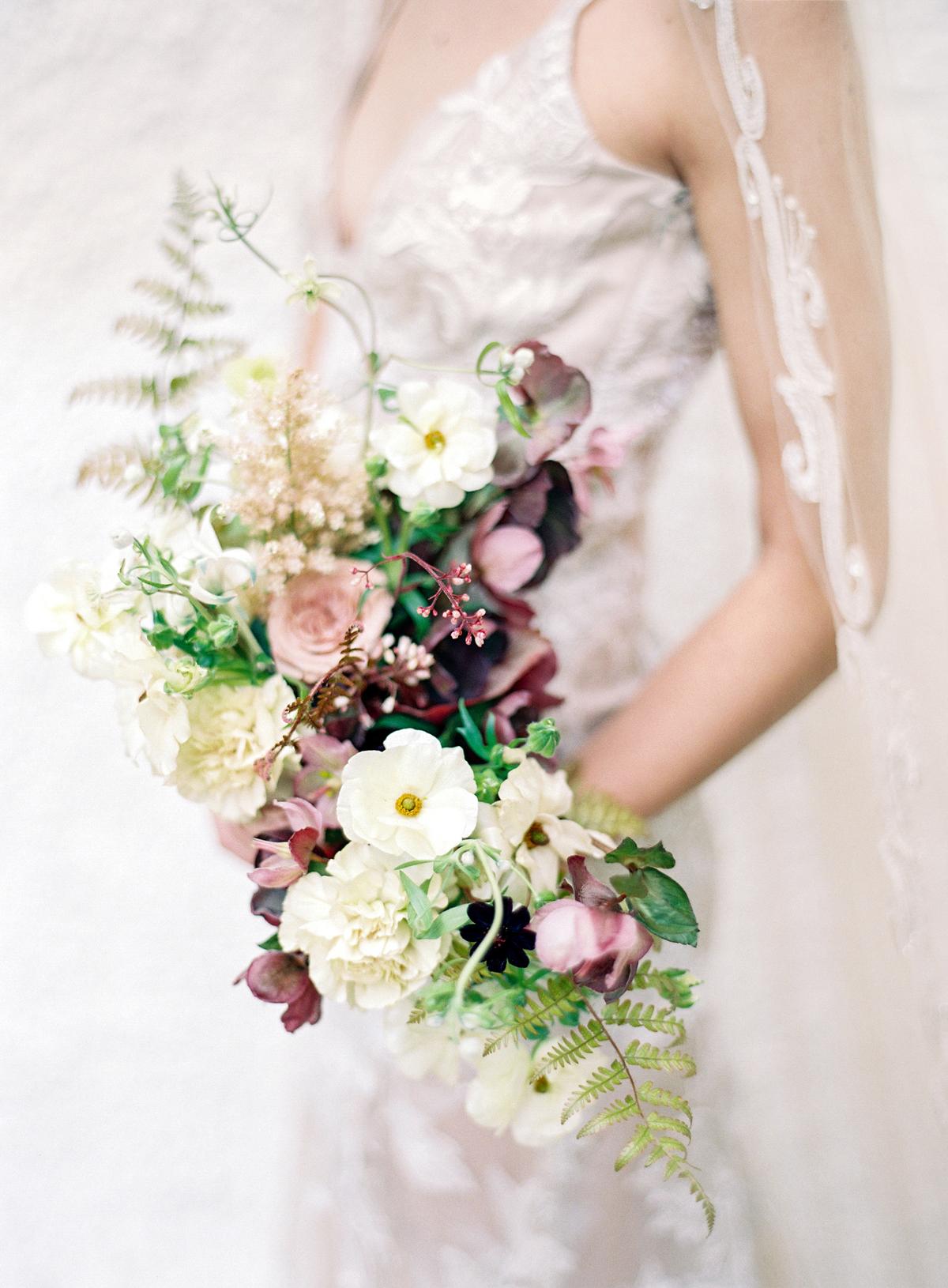 Merlot and Green wedding bridal bouquet