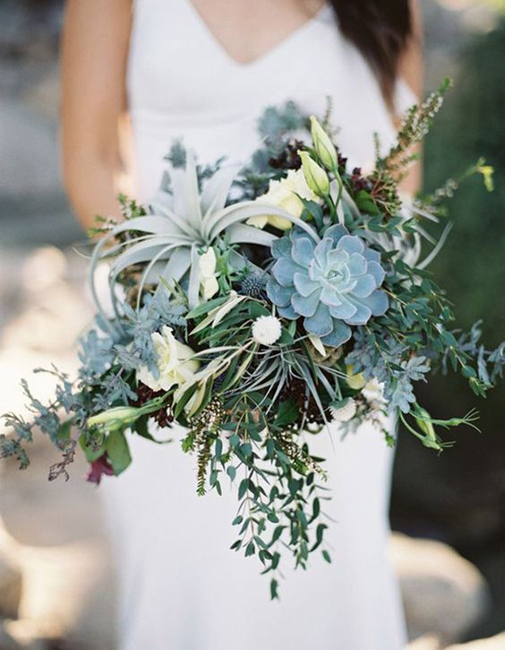 greenery bridal bouquet with succulents and air plants