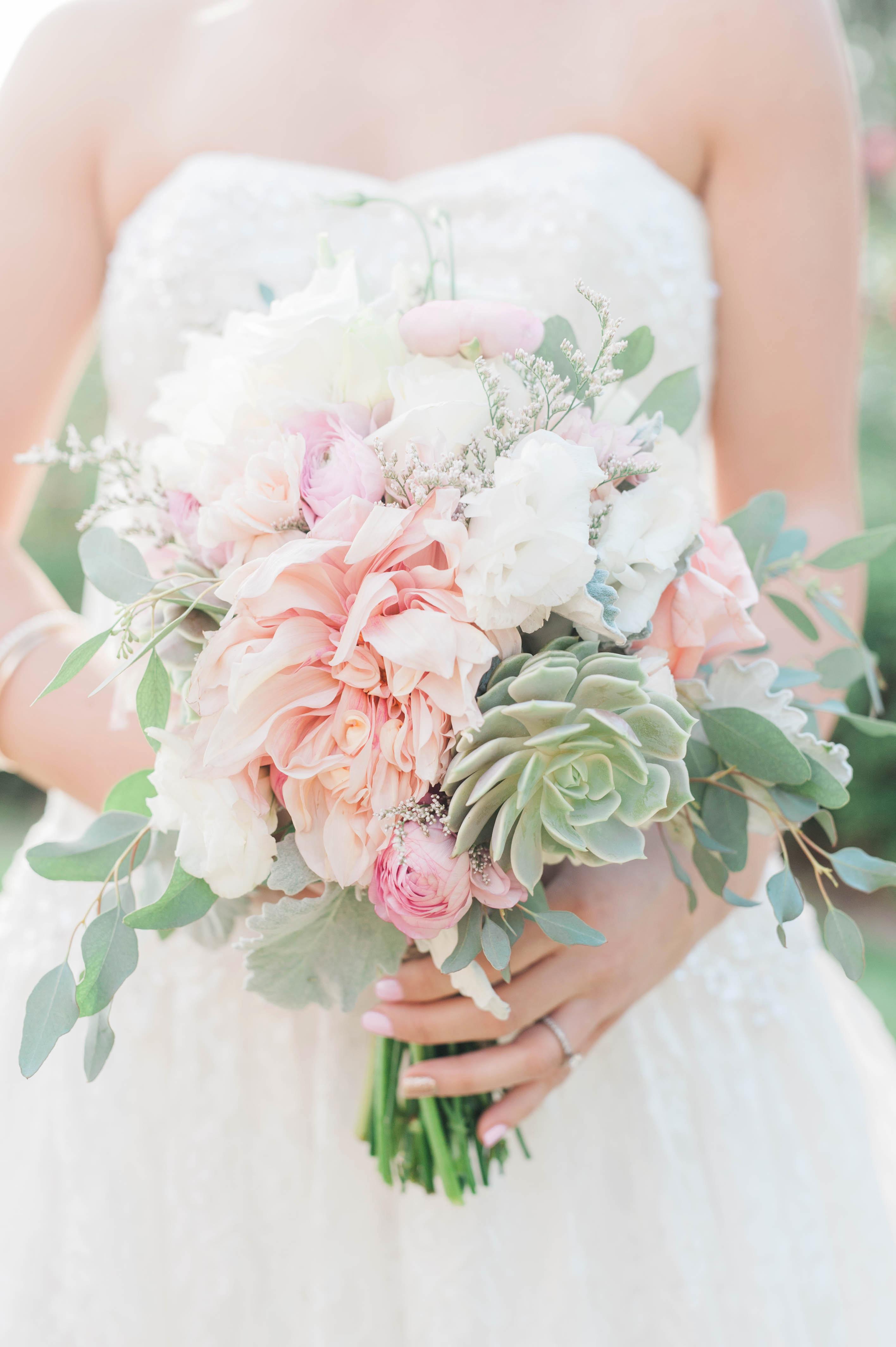 mint succulents in a springy bouquet