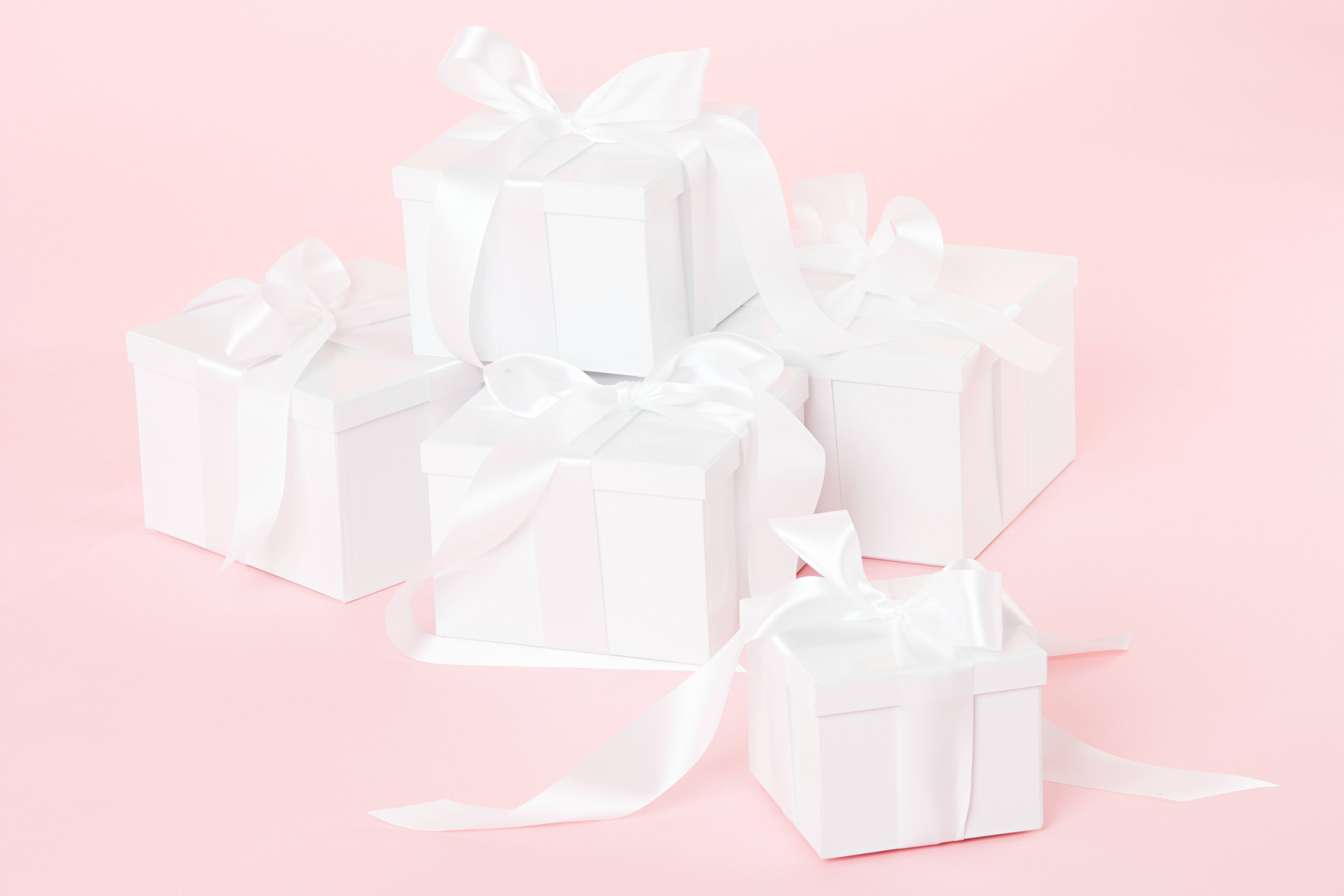 Wrapped White Gift Boxes with Bows, Wedding Presents