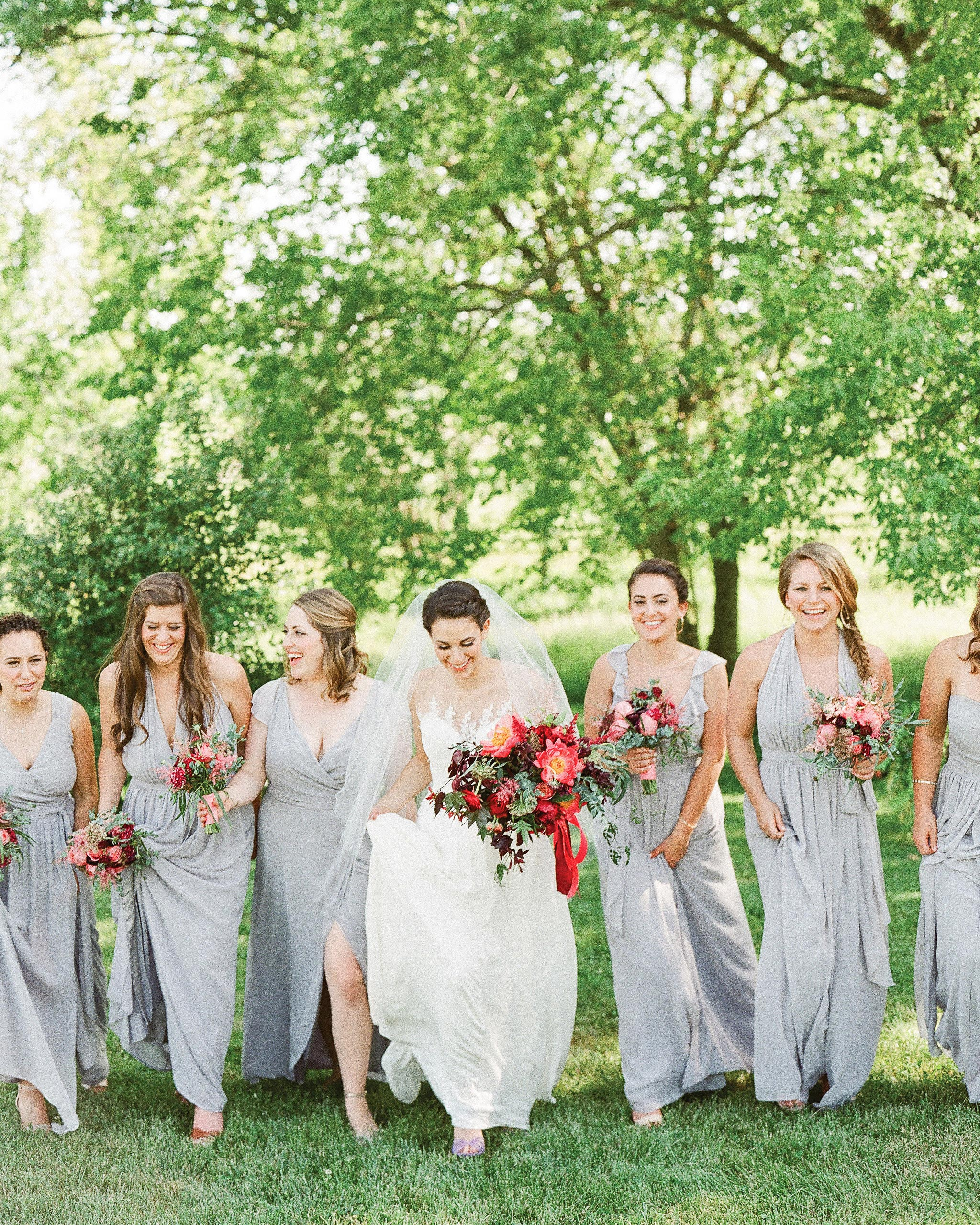 Gray Bridesmaids' Dresses