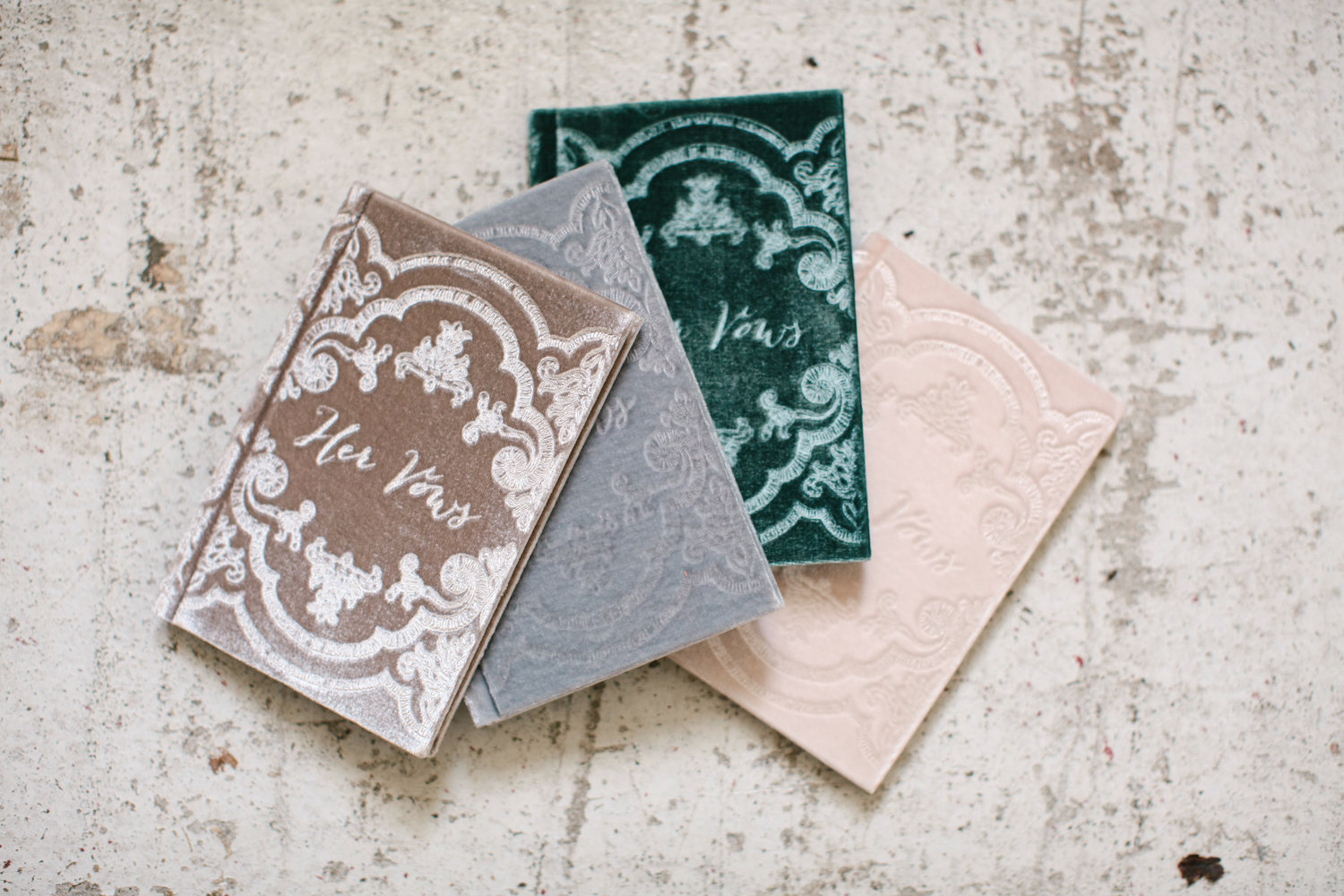 vow book velvet cover with vintage pattern