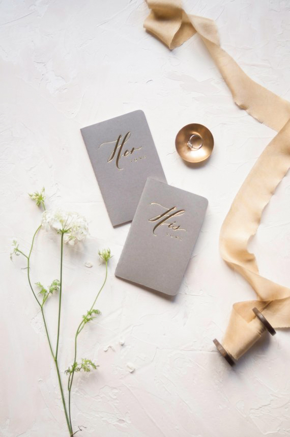 vow books gold foil his and hers grey cover