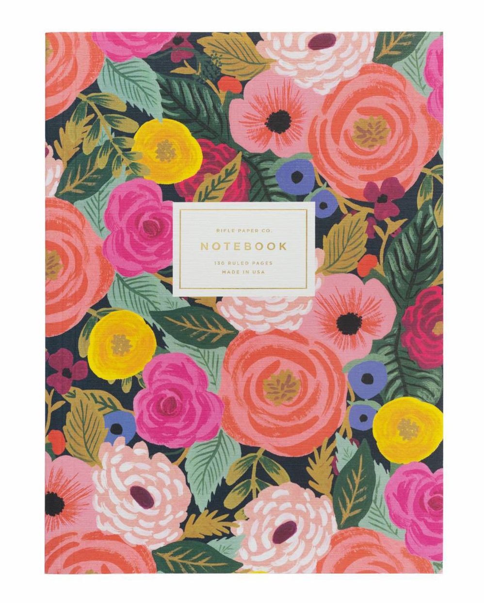 vow books colorful floral notebook gold letting