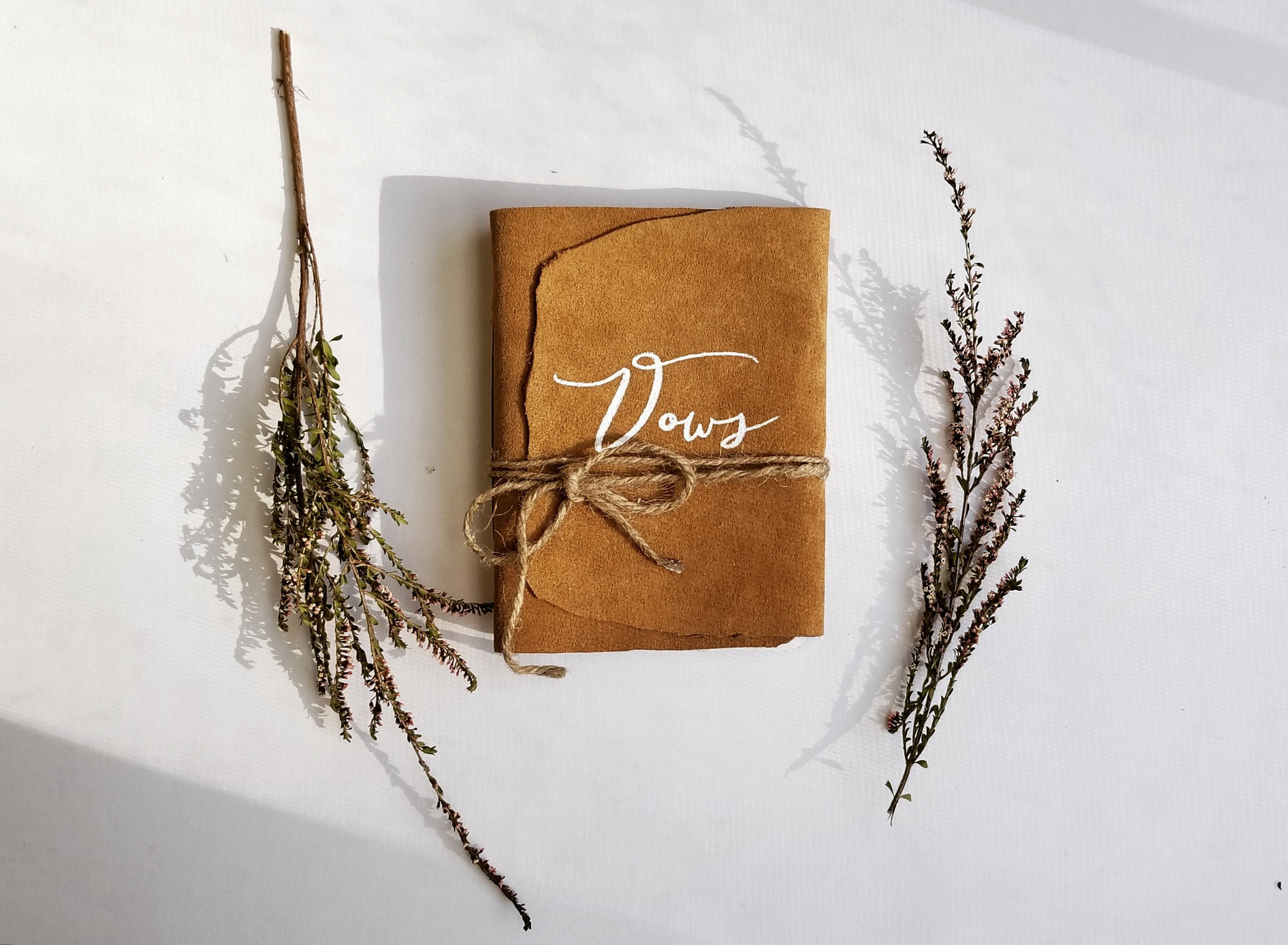 bow books suede rustic leather with twine
