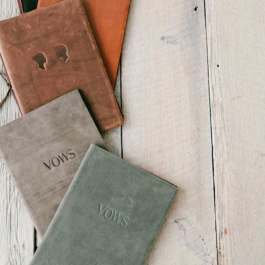 vow books leather embossed assorted colors