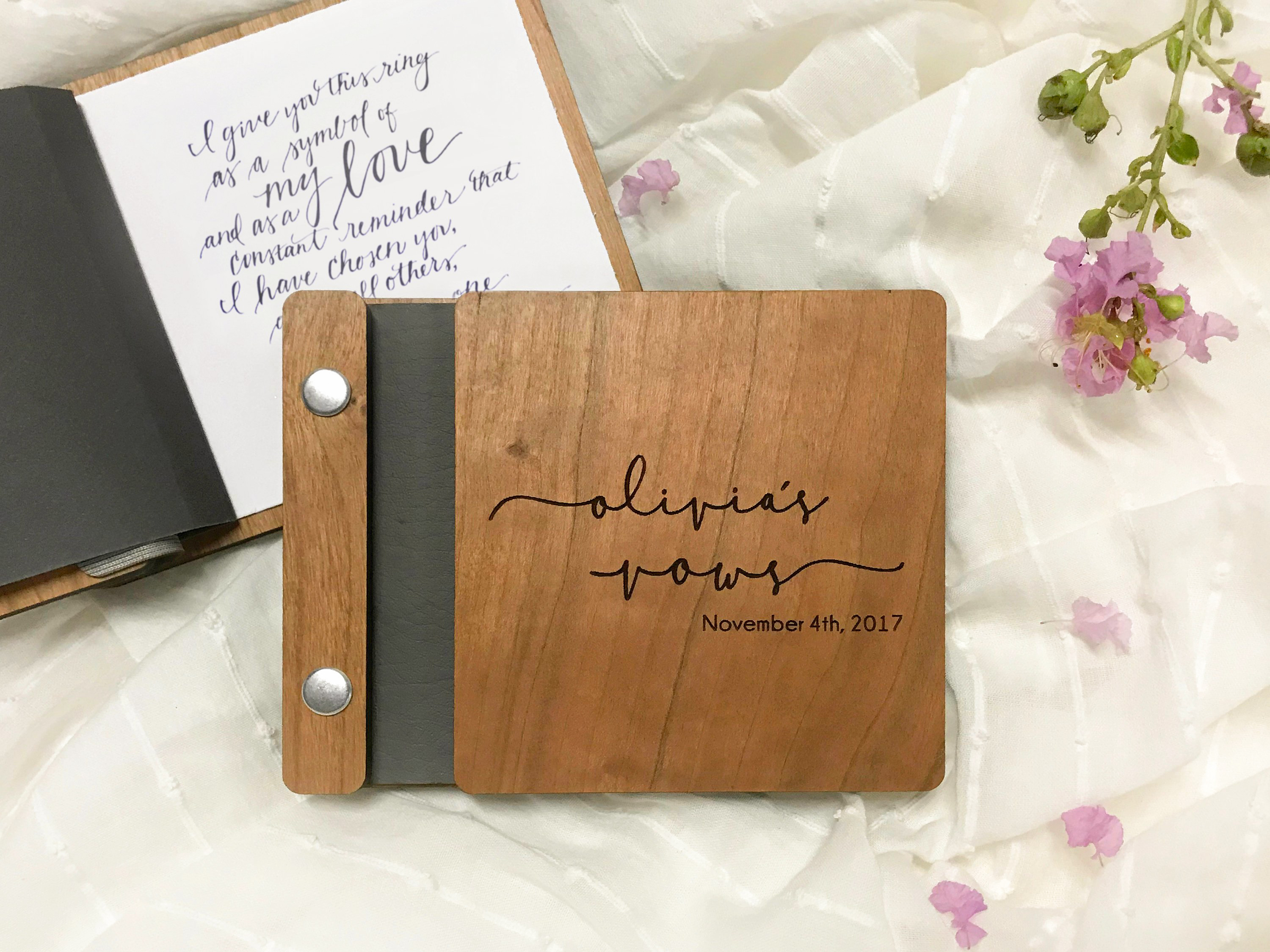 vow book durable red berry wooden cover