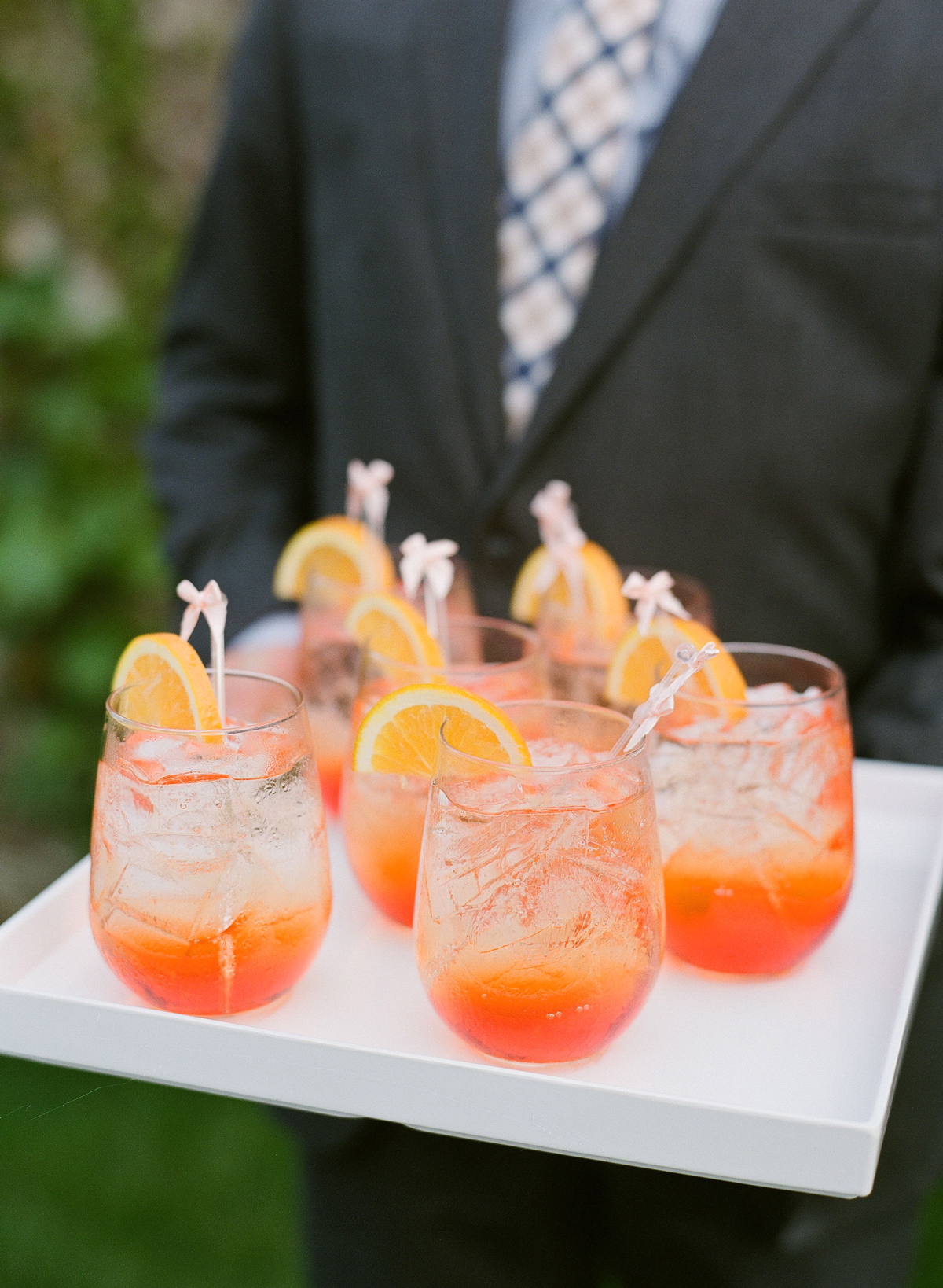 colleen stephen newport wedding orange cocktails