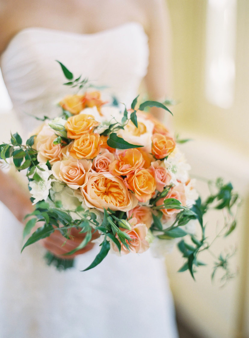 monochromatic bouquet peach orange flowers