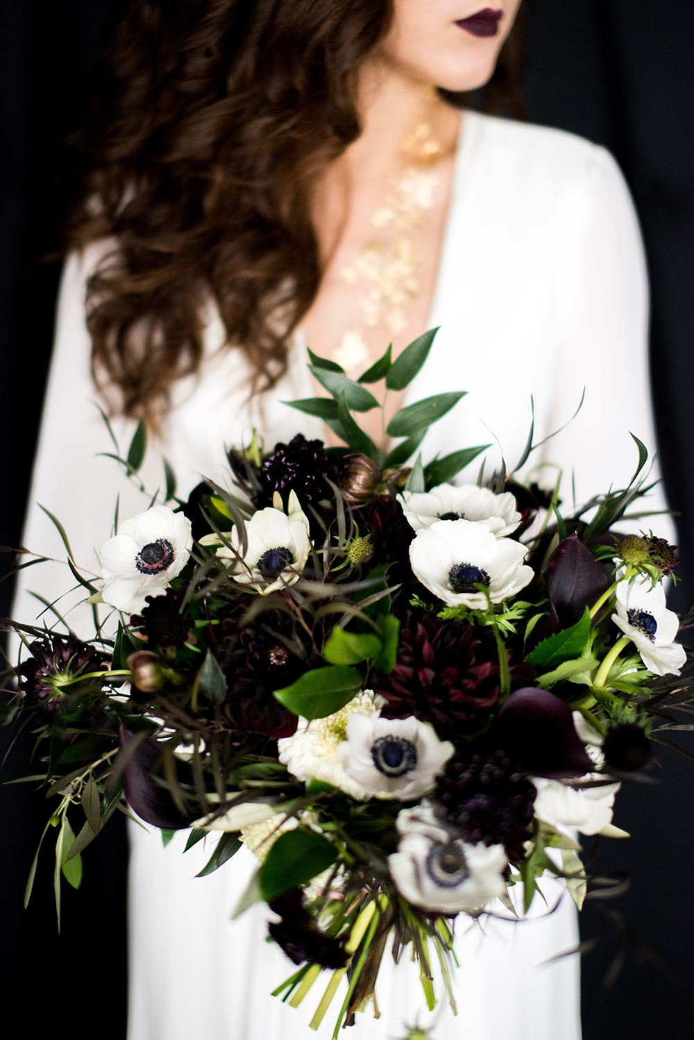 monochromatic bouquet black flowers