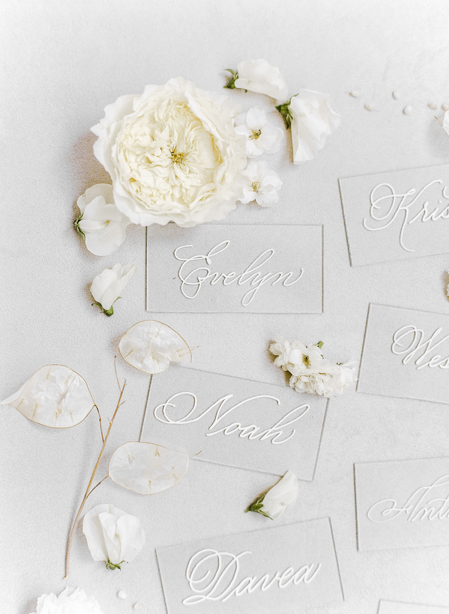 calligraphy lucite escort cards